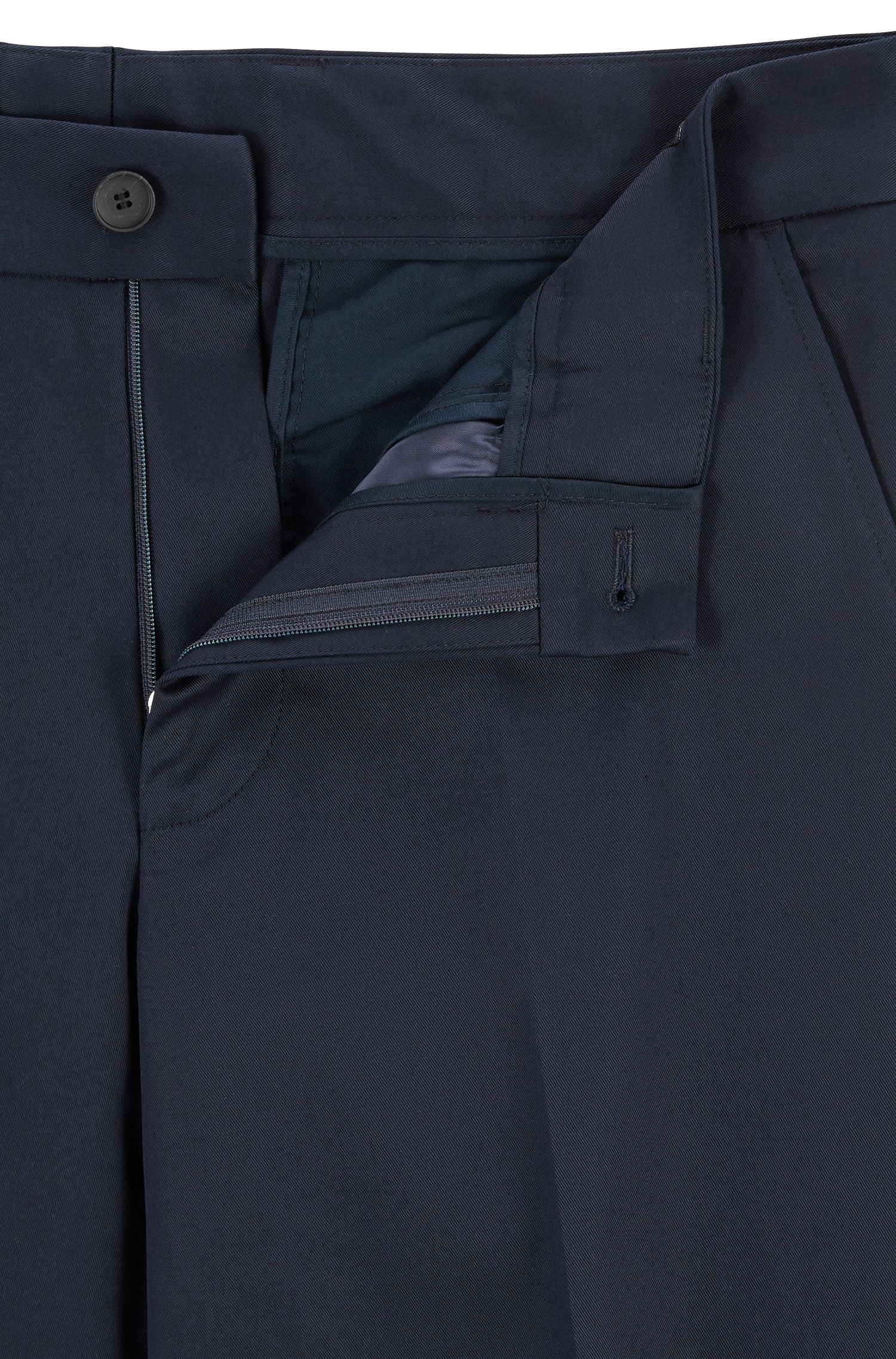 Relaxed-fit pants in stretch-cotton gabardine, Dark Blue