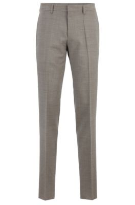 Slim-fit pants in melange virgin wool, Light Beige