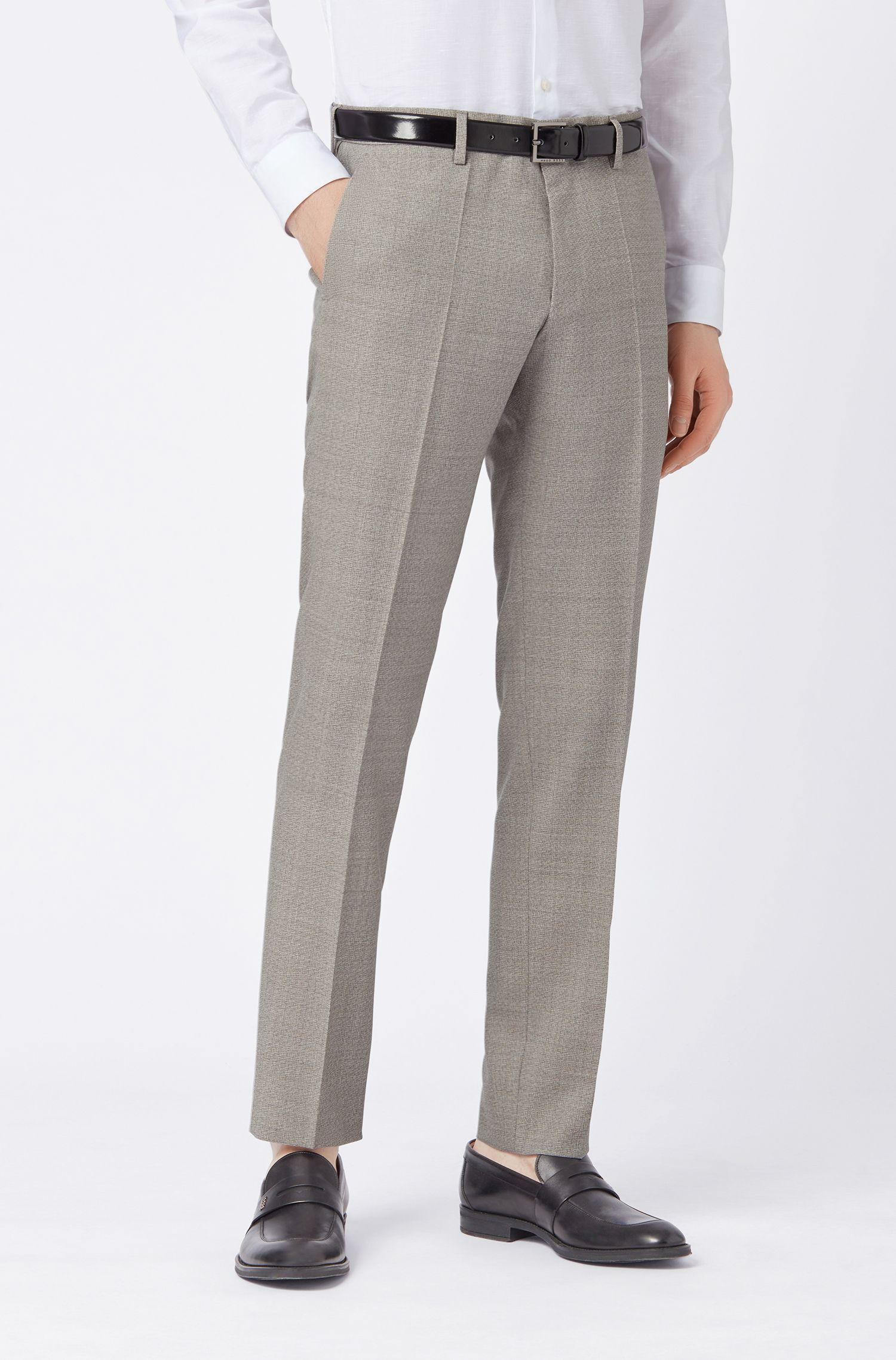 Slim-fit pants in melange virgin wool, Light Beige