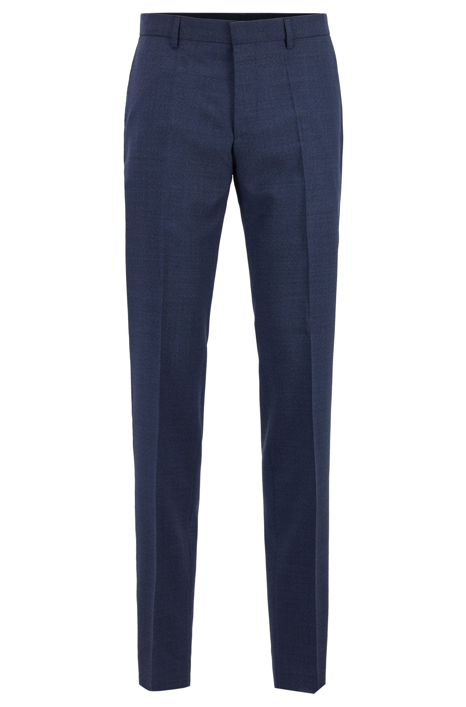 Slim-fit pants in melange virgin wool, Open Blue