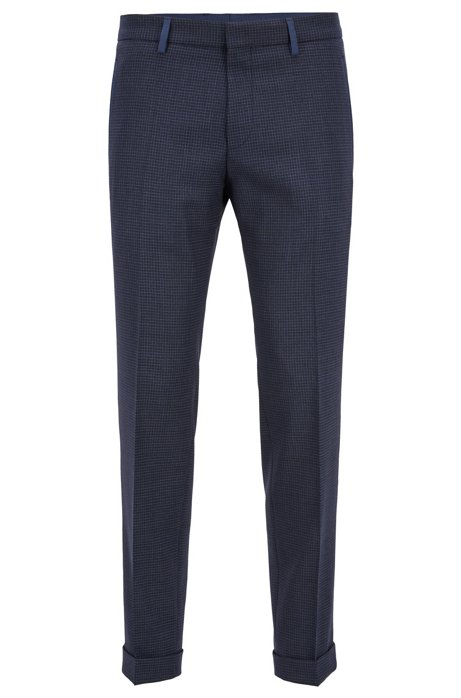 b2e61601 BOSS - Extra-slim-fit pants in plain-check virgin wool