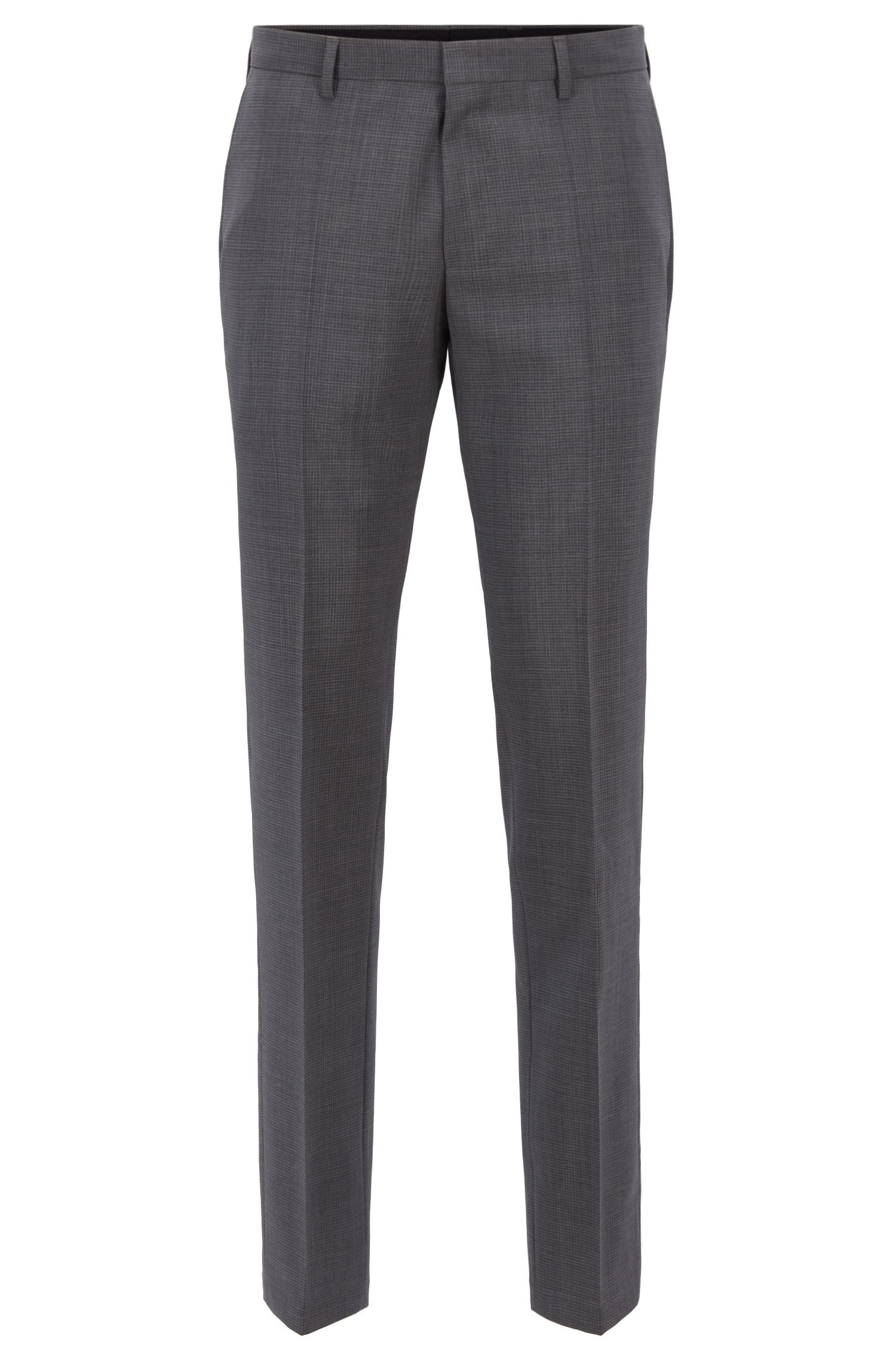 Melange slim-fit pants in virgin wool, Grey