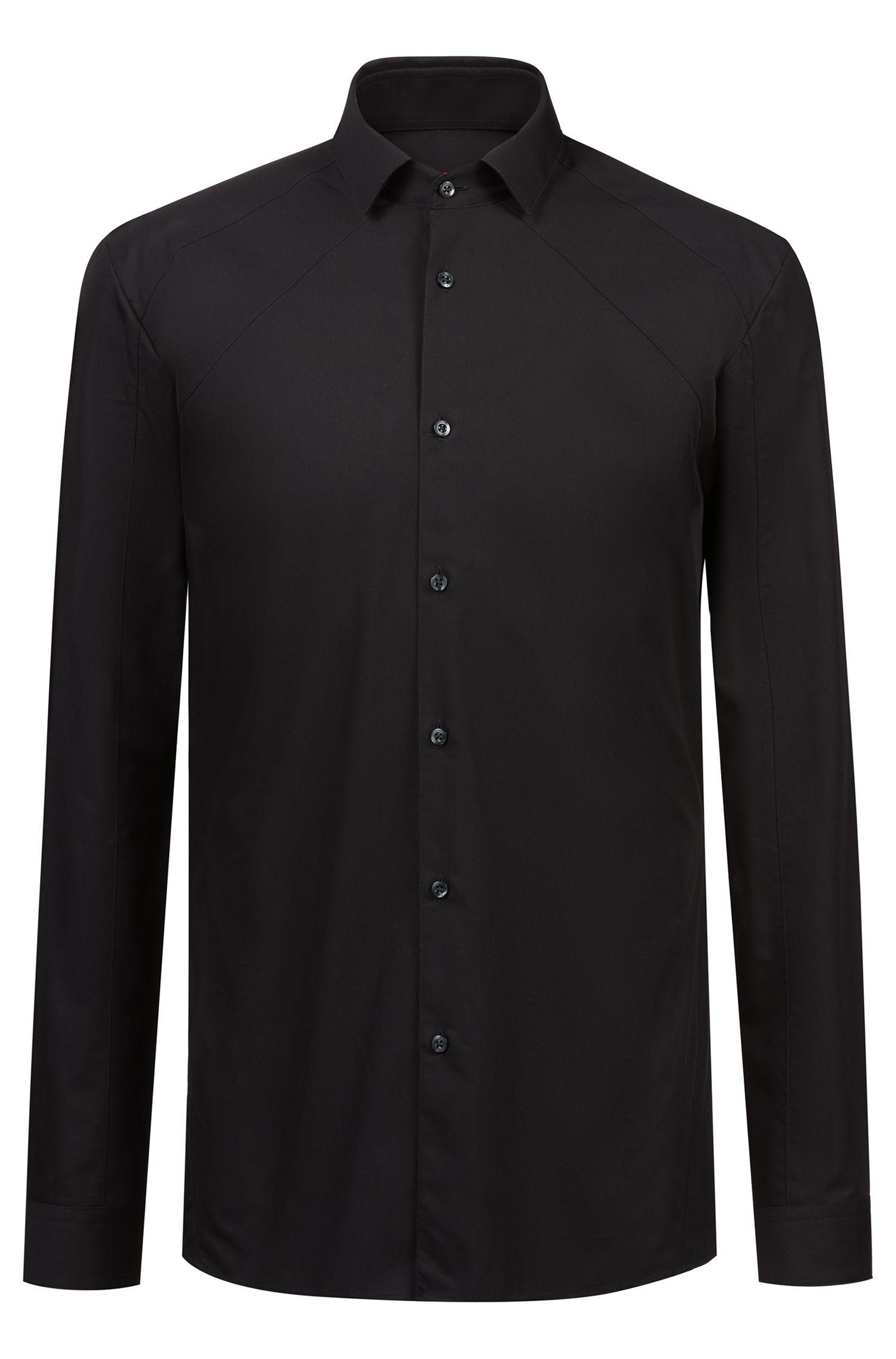 Extra-slim-fit shirt with tonal panel, Black