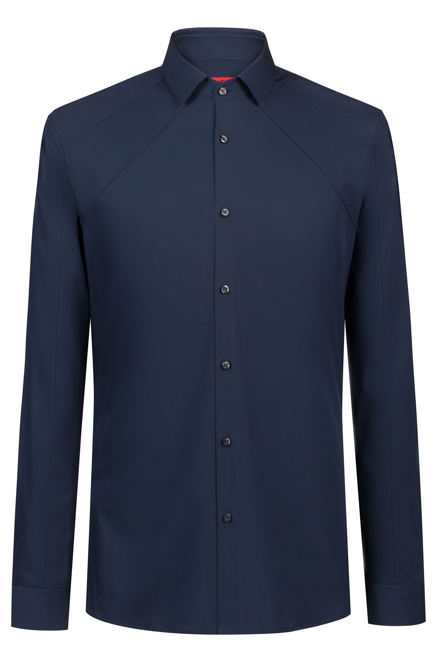 Extra-slim-fit shirt with tonal panel, Dark Blue