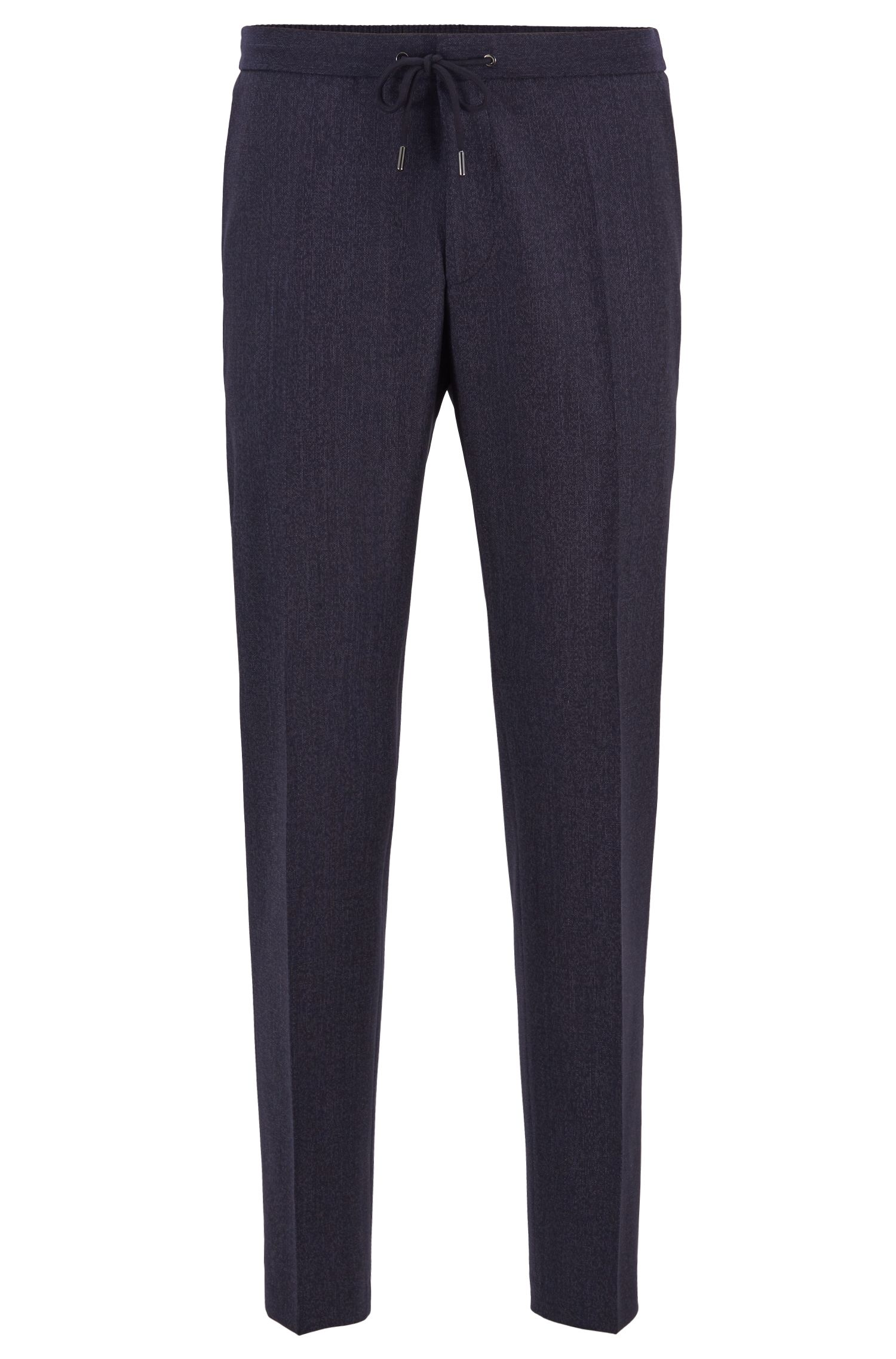 Slim-fit cropped pants with drawstring waist, Open Blue