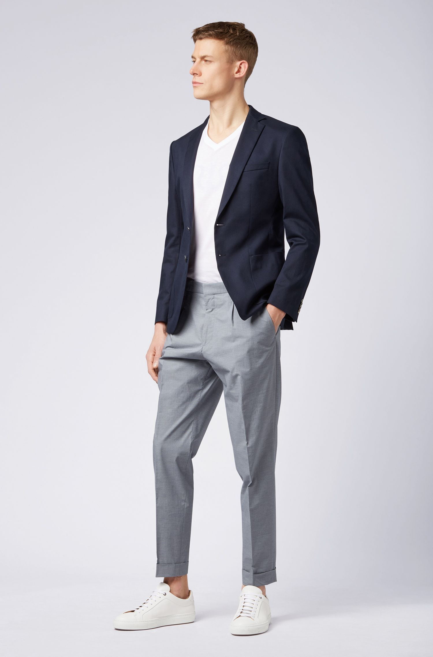 Relaxed-fit cropped pants in stretch cotton, Open Blue