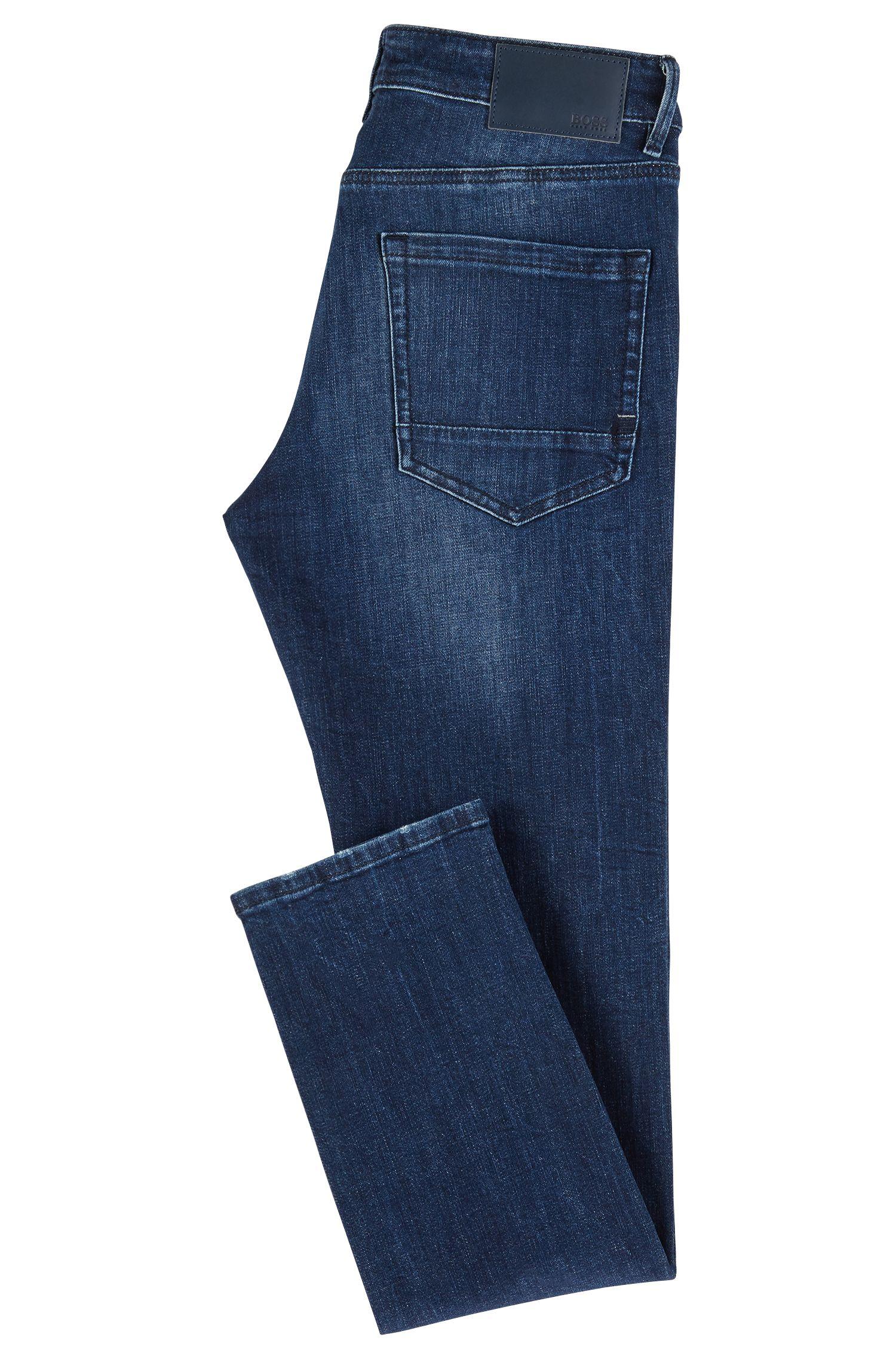 Extra-slim-fit jeans in marble-effect stretch denim, Dark Blue