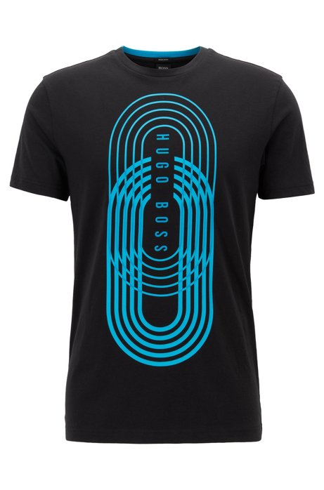 Graphic print T-shirt in eco-friendly jersey, Black