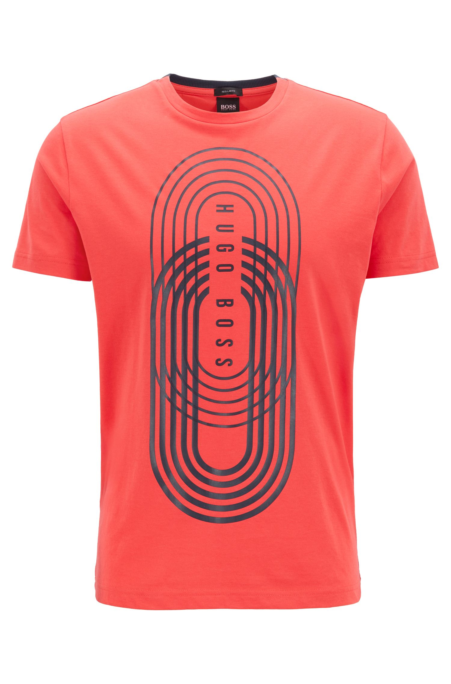 Graphic print T-shirt in eco-friendly jersey, Open Red