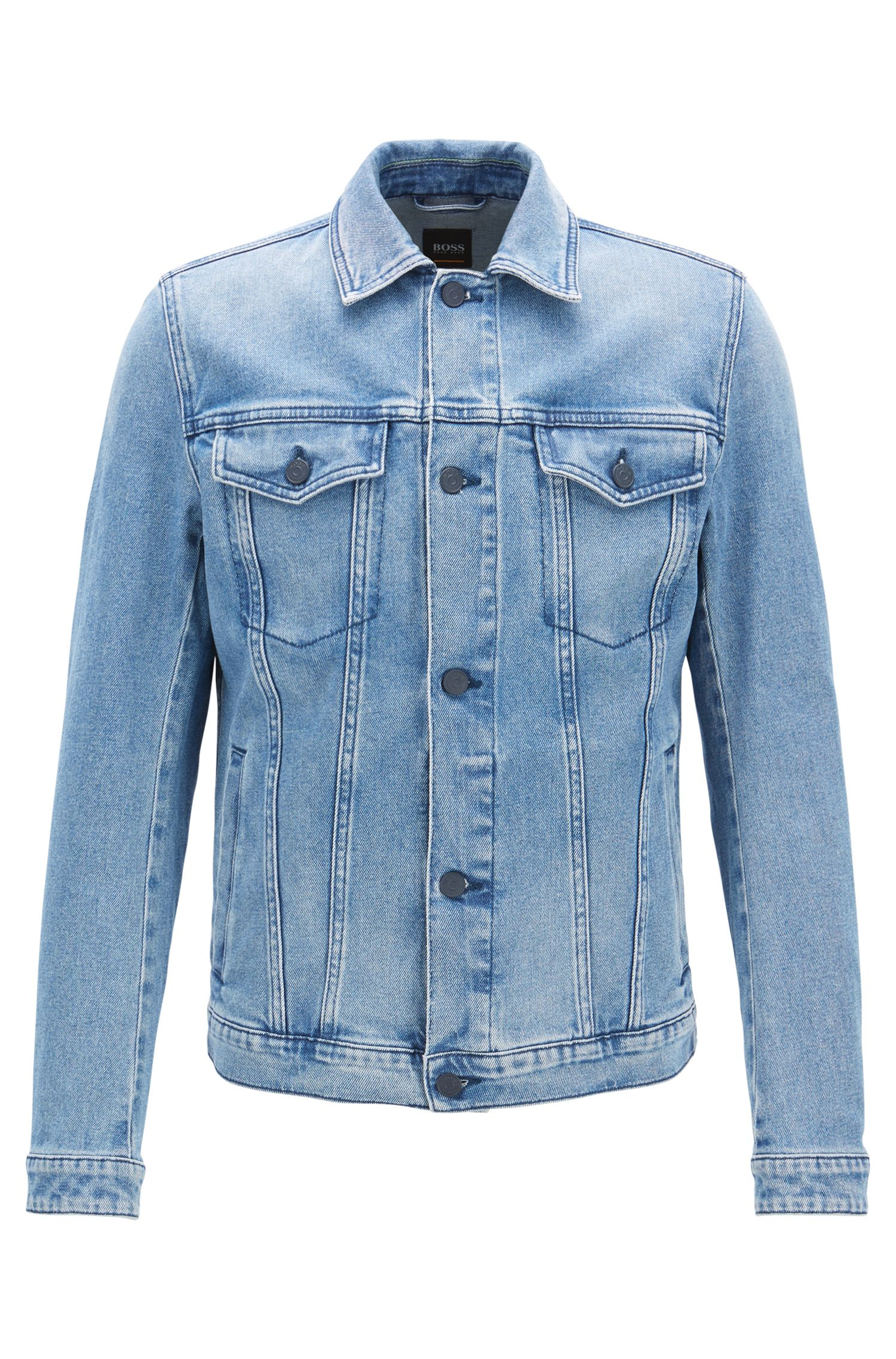 Regular-fit jacket in eco-friendly stretch denim, Blue