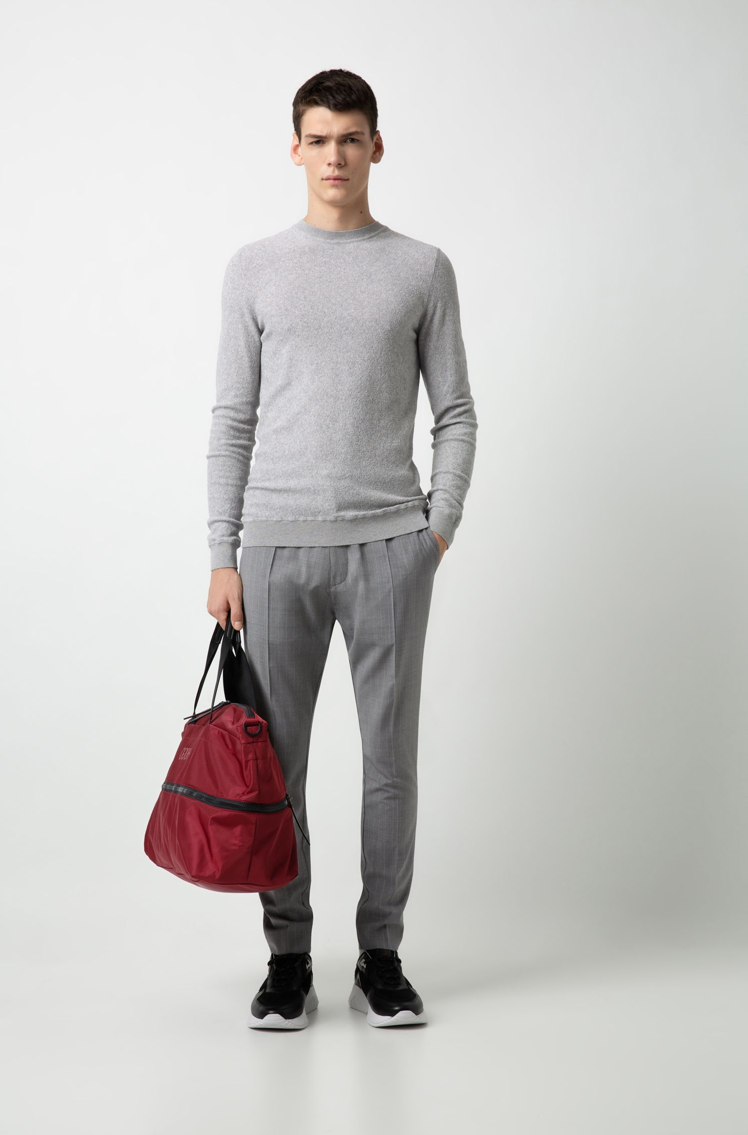 Relaxed-fit sweater in knitted cotton-blend bouclé, Open Grey