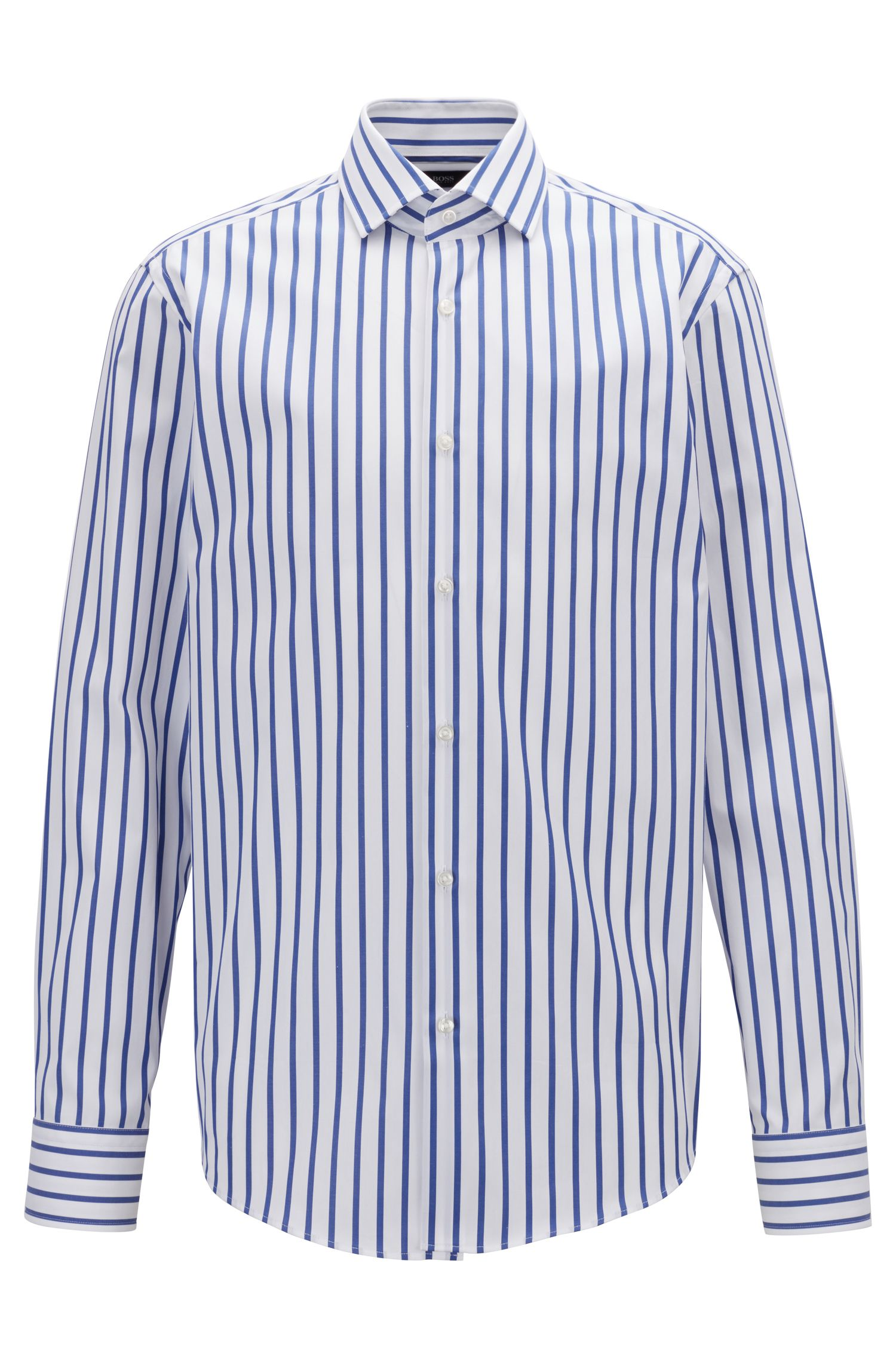 Striped regular-fit shirt in cotton poplin, Blue
