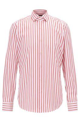 Striped regular-fit shirt in cotton poplin, Red