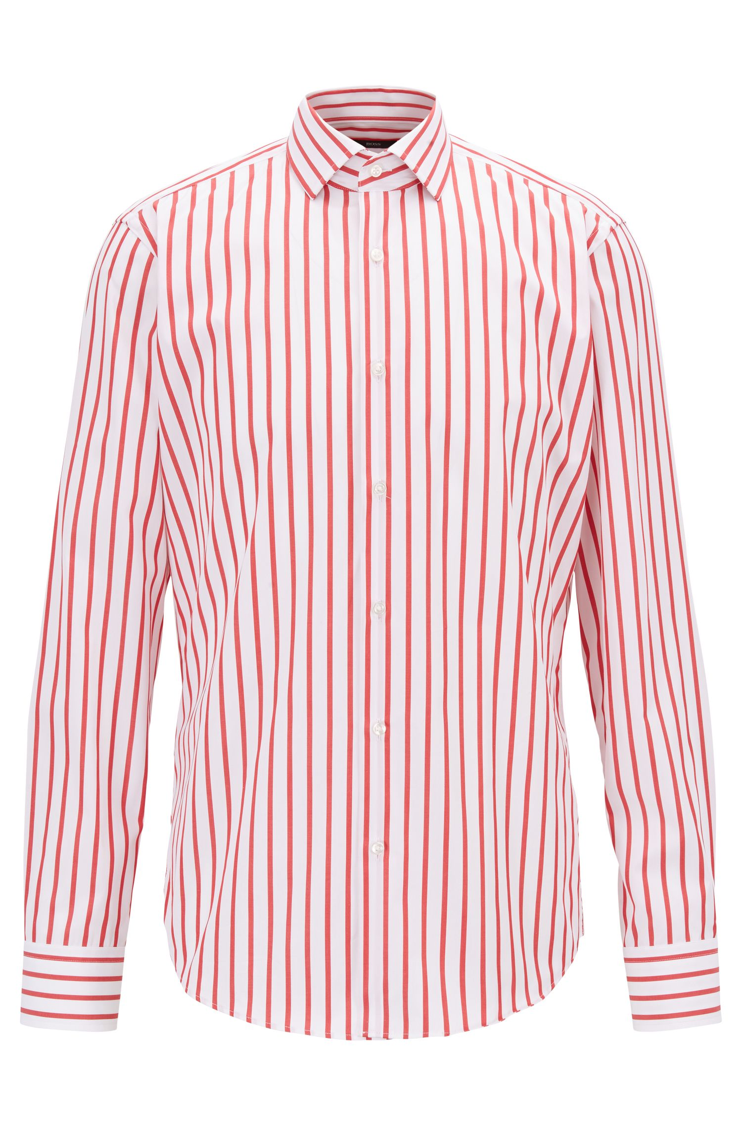 Striped regular-fit shirt in cotton poplin, Red