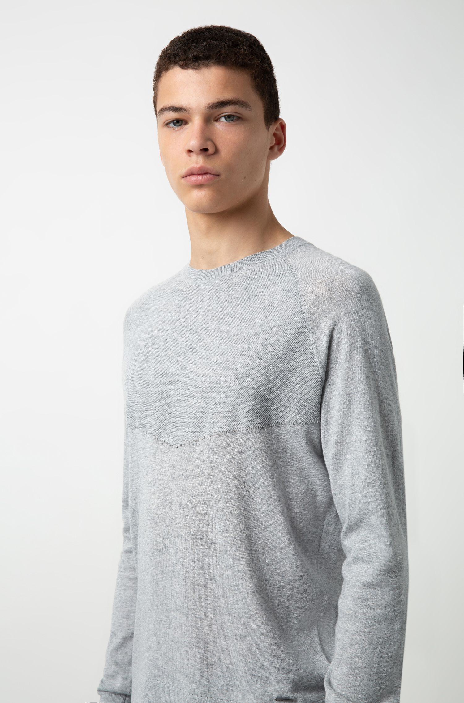 Regular-fit sweater in pure cotton with placed structure, Open Grey