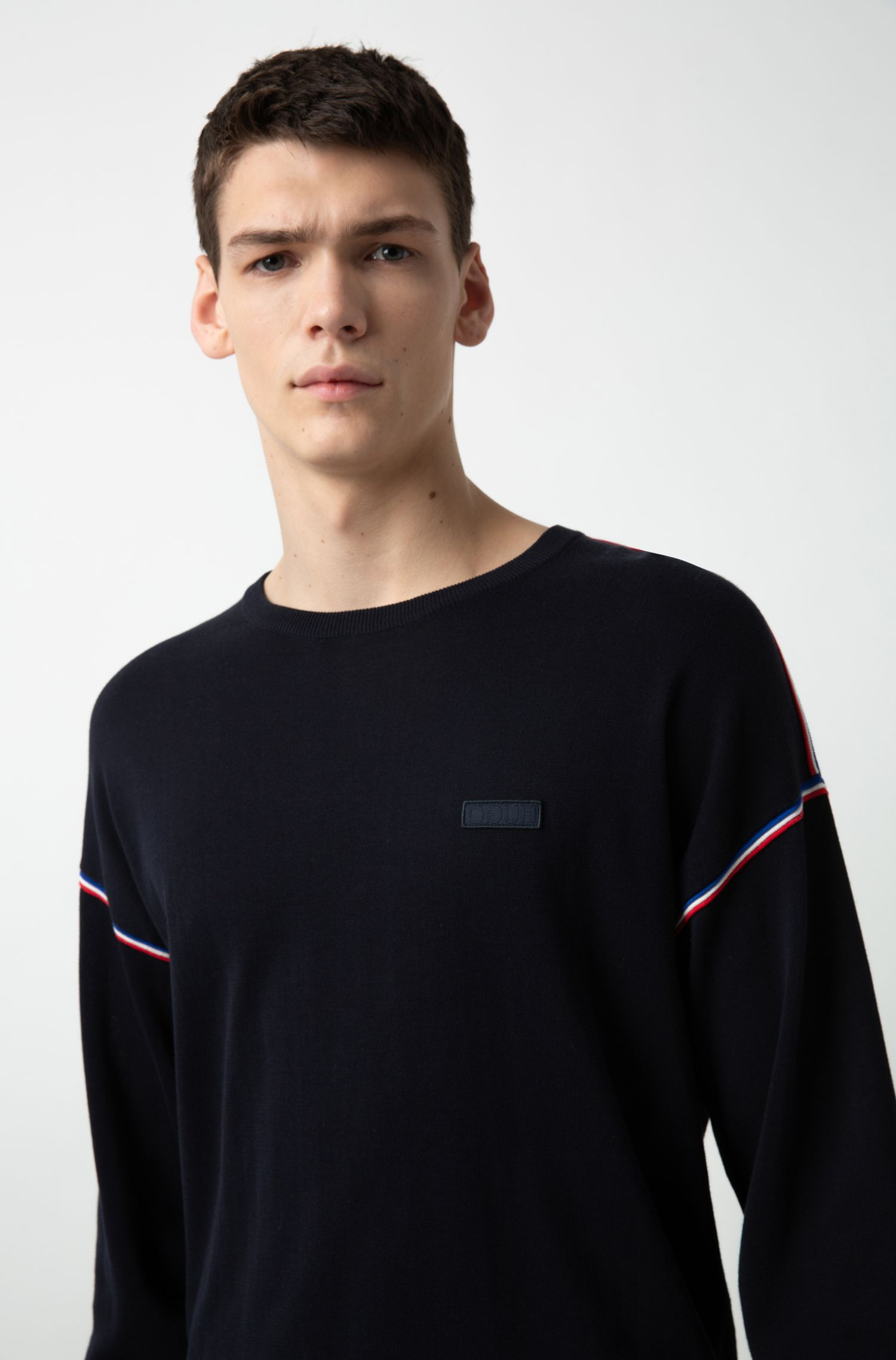 Oversized-fit sweater in cotton with three-color stripes, Dark Blue