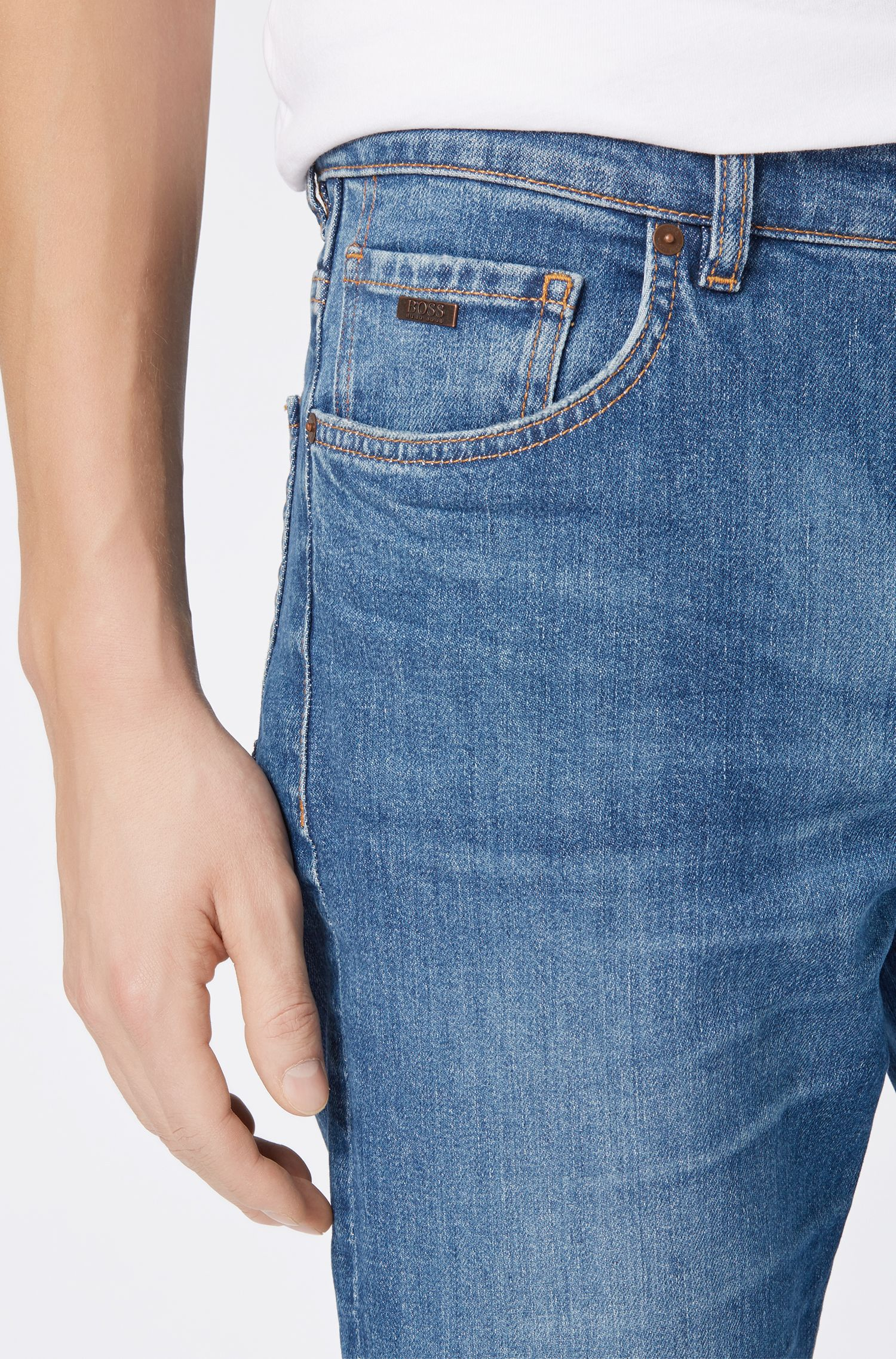 Relaxed-fit jeans in soft-washed Italian denim, Dark Blue