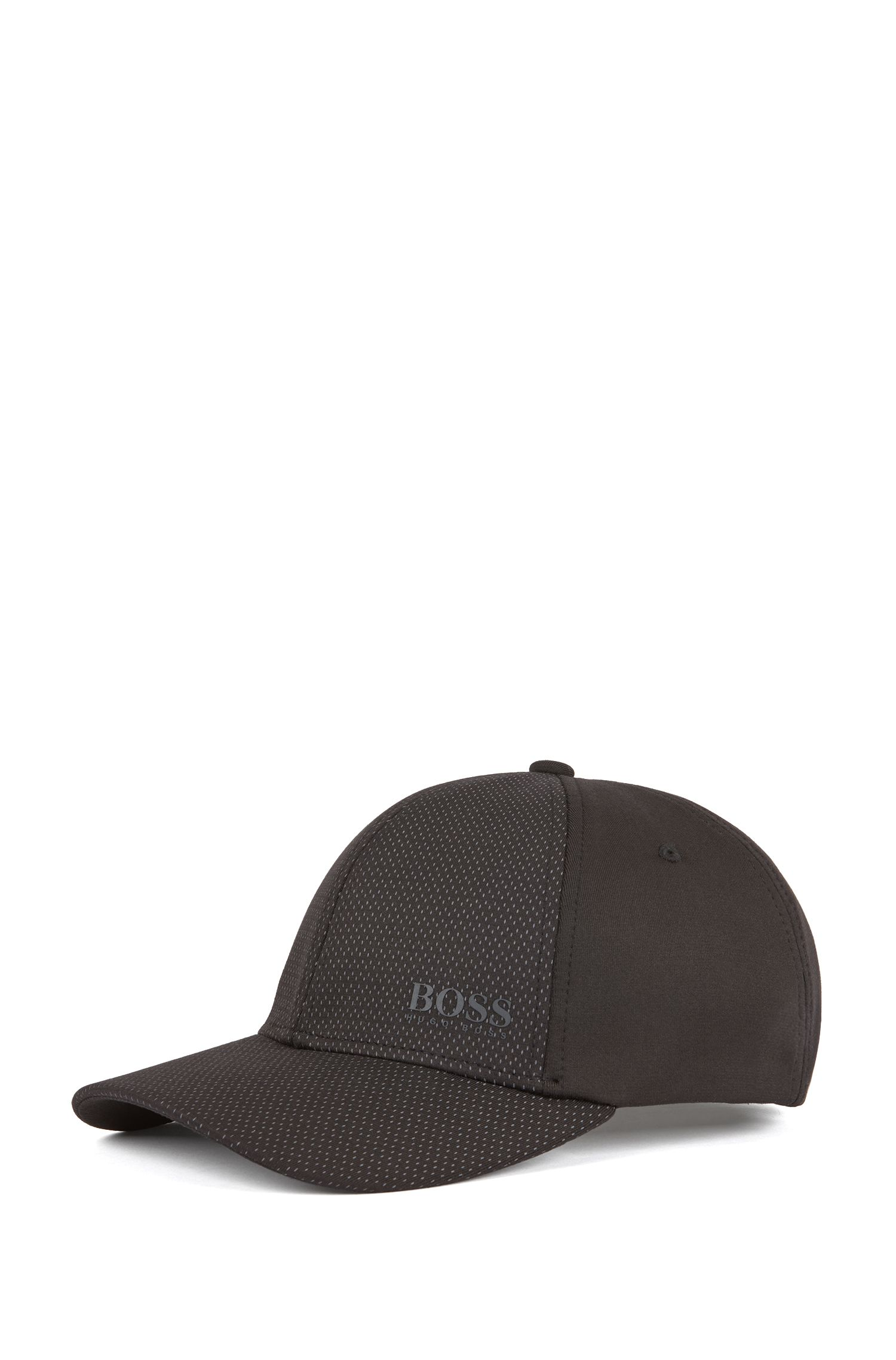 Mesh-structured logo cap in stretch fabric with S.Café®, Black