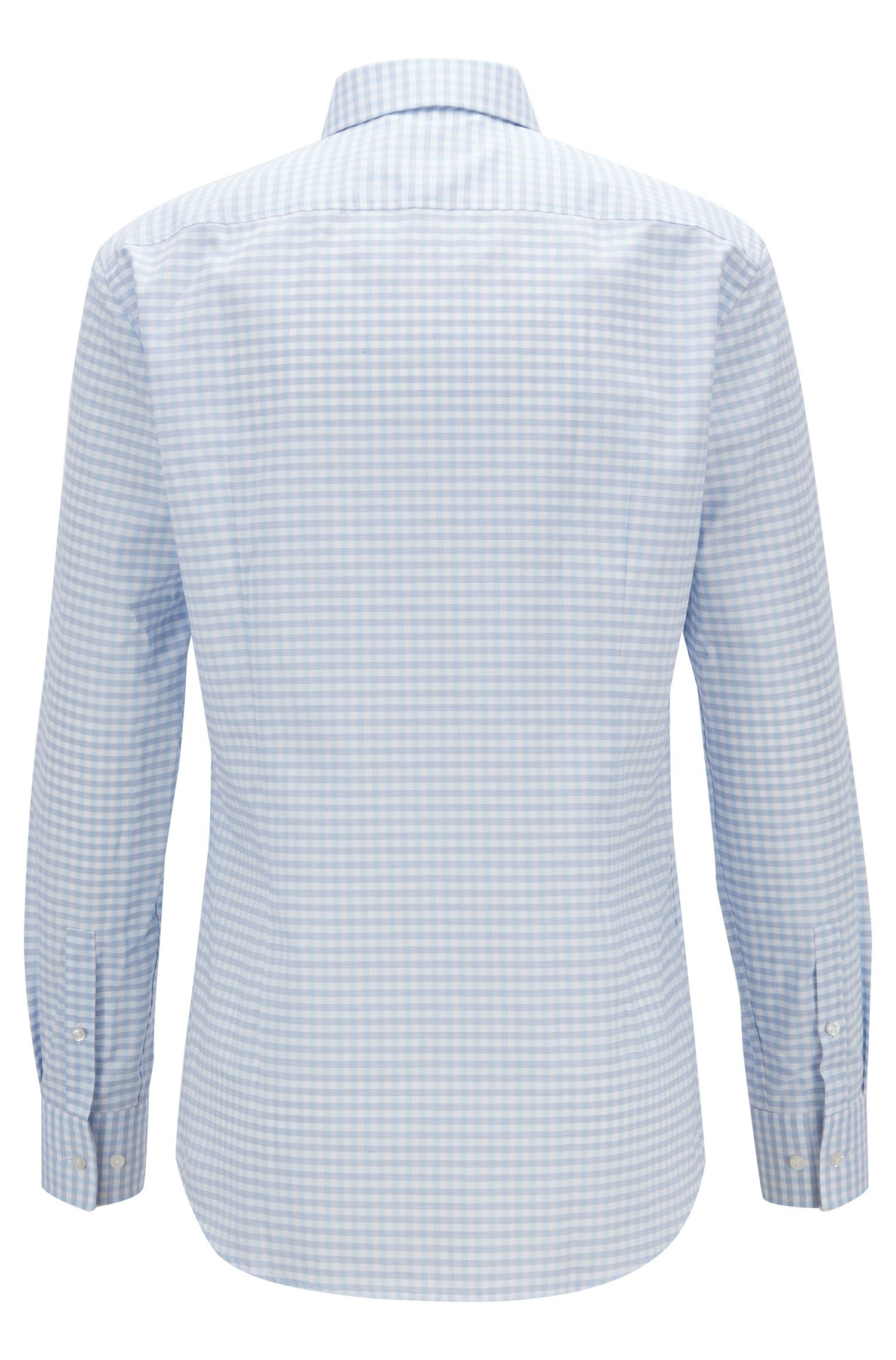 Vichy-check slim-fit shirt with Coolest Comfort finishing, Blue