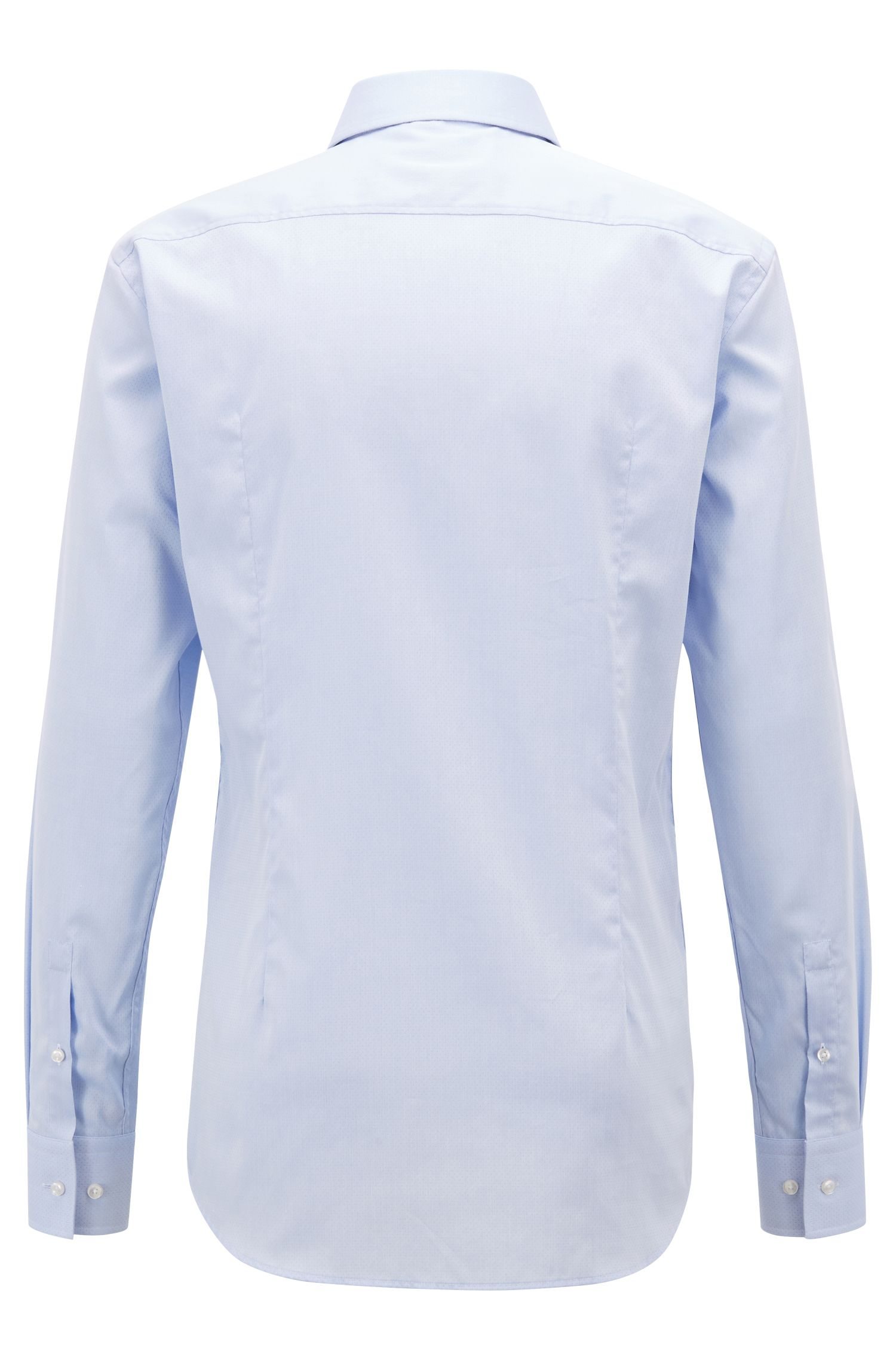 Swiss cotton slim-fit shirt with Coolest Comfort finishing, Light Blue