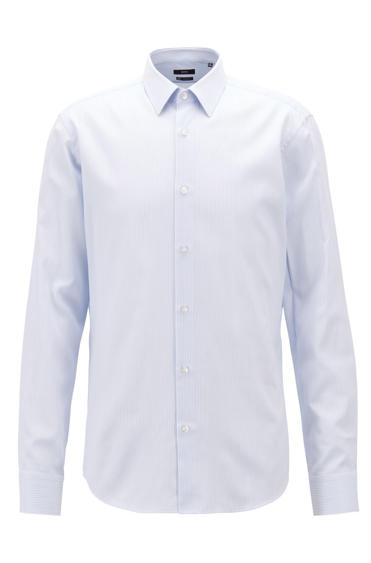Regular-fit shirt in striped cotton, Light Blue