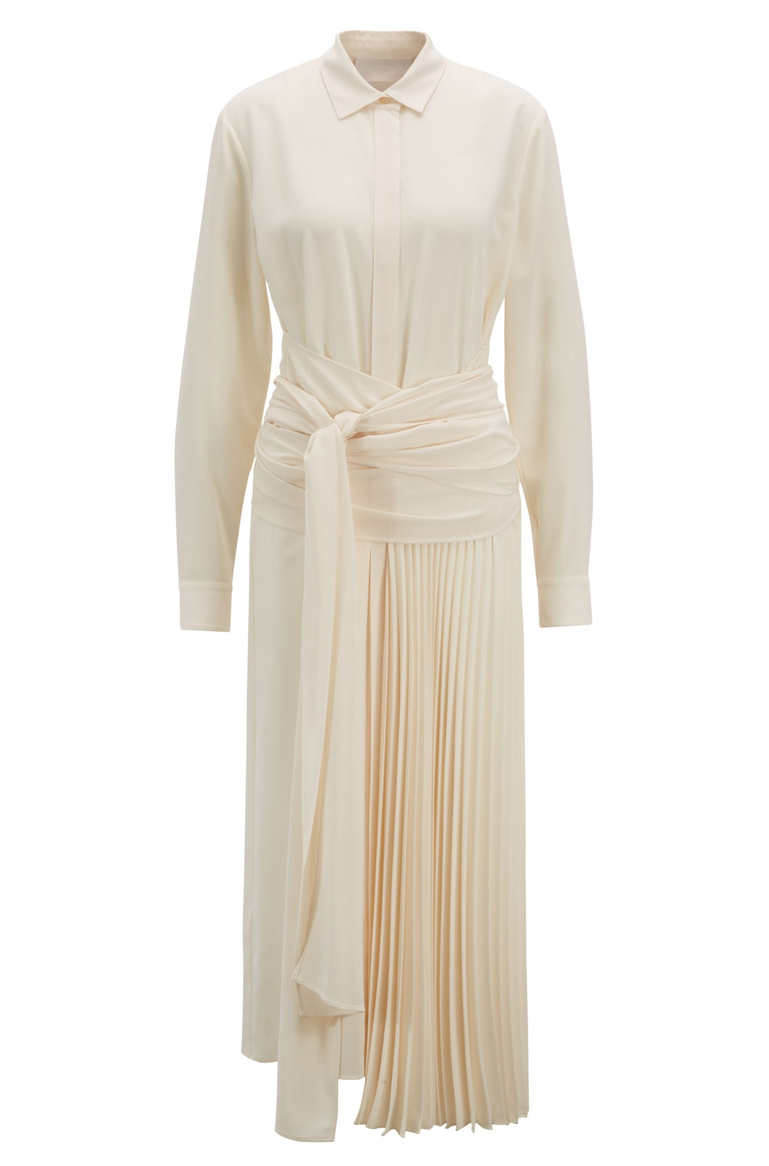 Midi-length shirt dress with wrap belt and plissé detailing, Natural
