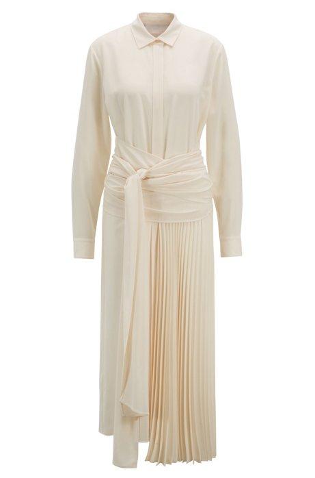 Midi-length shirt dress with wrap belt and plissé detailing, Natural