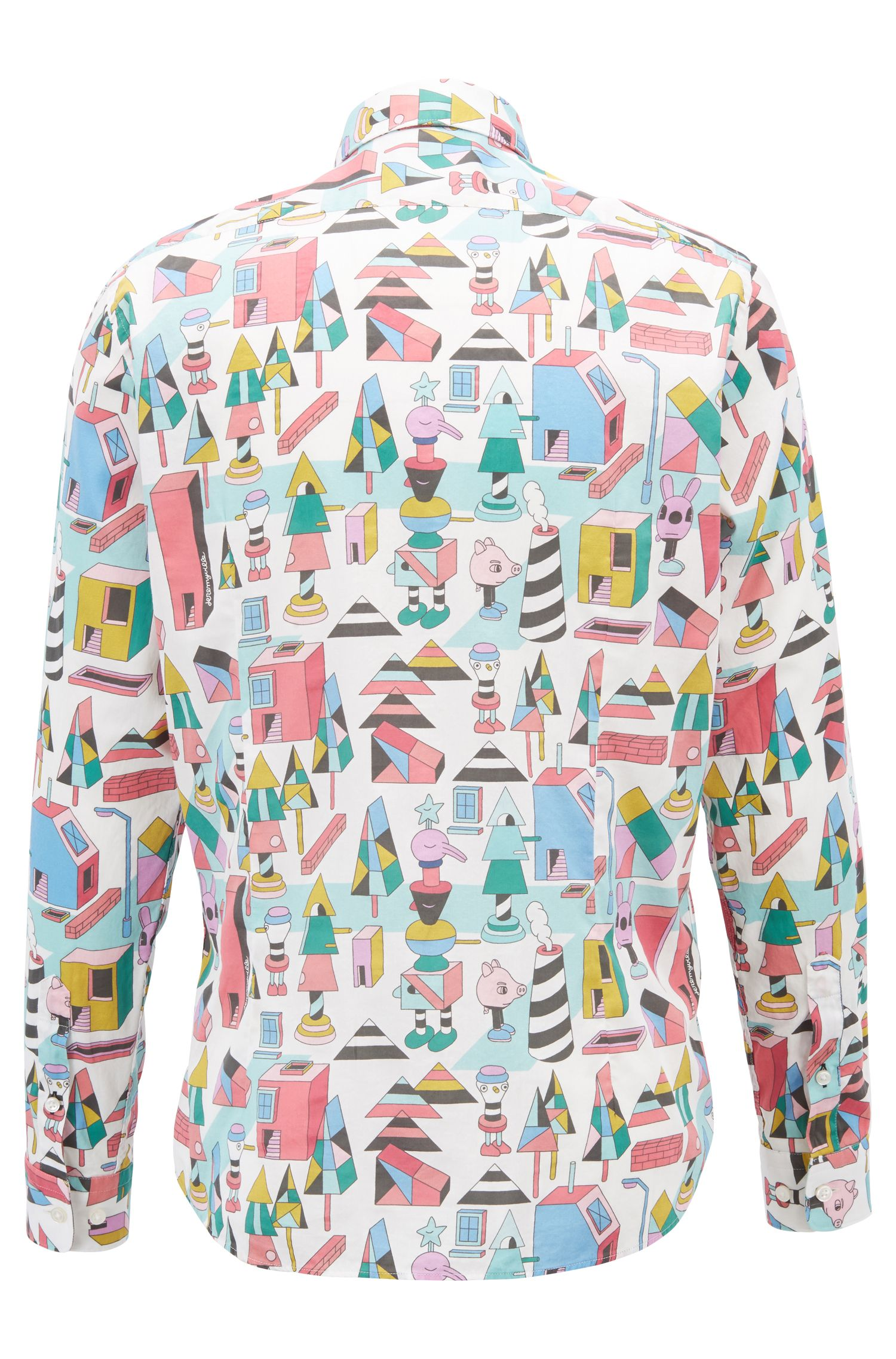 Limited-edition regular-fit shirt in satin with Jeremyville print, Patterned