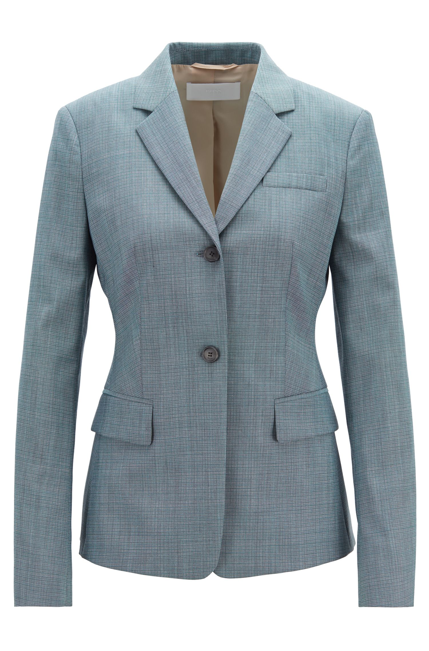 Regular-fit jacket in patterned Italian wool, Patterned