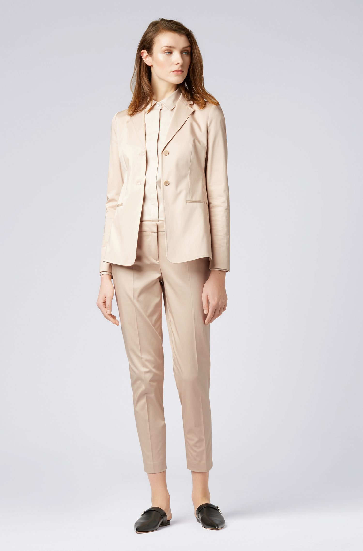 Slim-fit jacket in stretch-cotton satin, Open Beige
