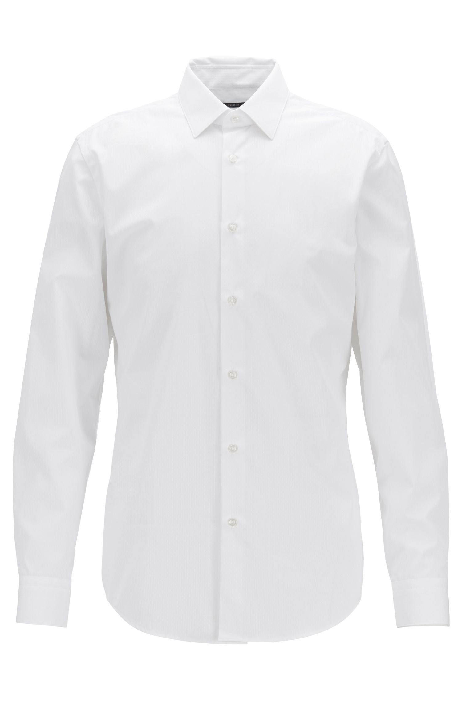 Slim-fit shirt in dobby Egyptian cotton, White