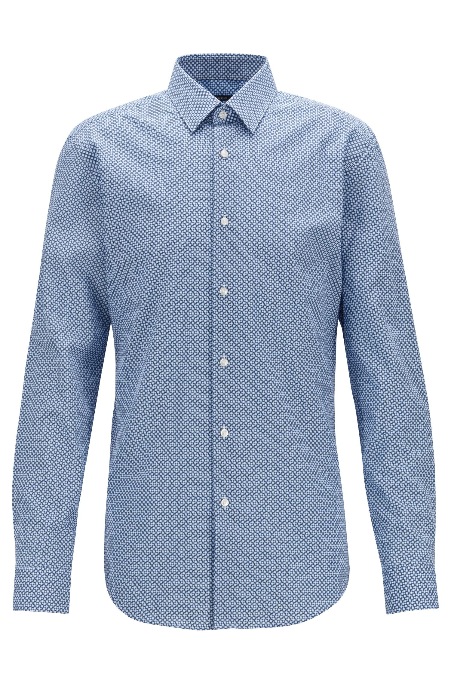 Slim-fit shirt in geometric-print cotton poplin, Blue
