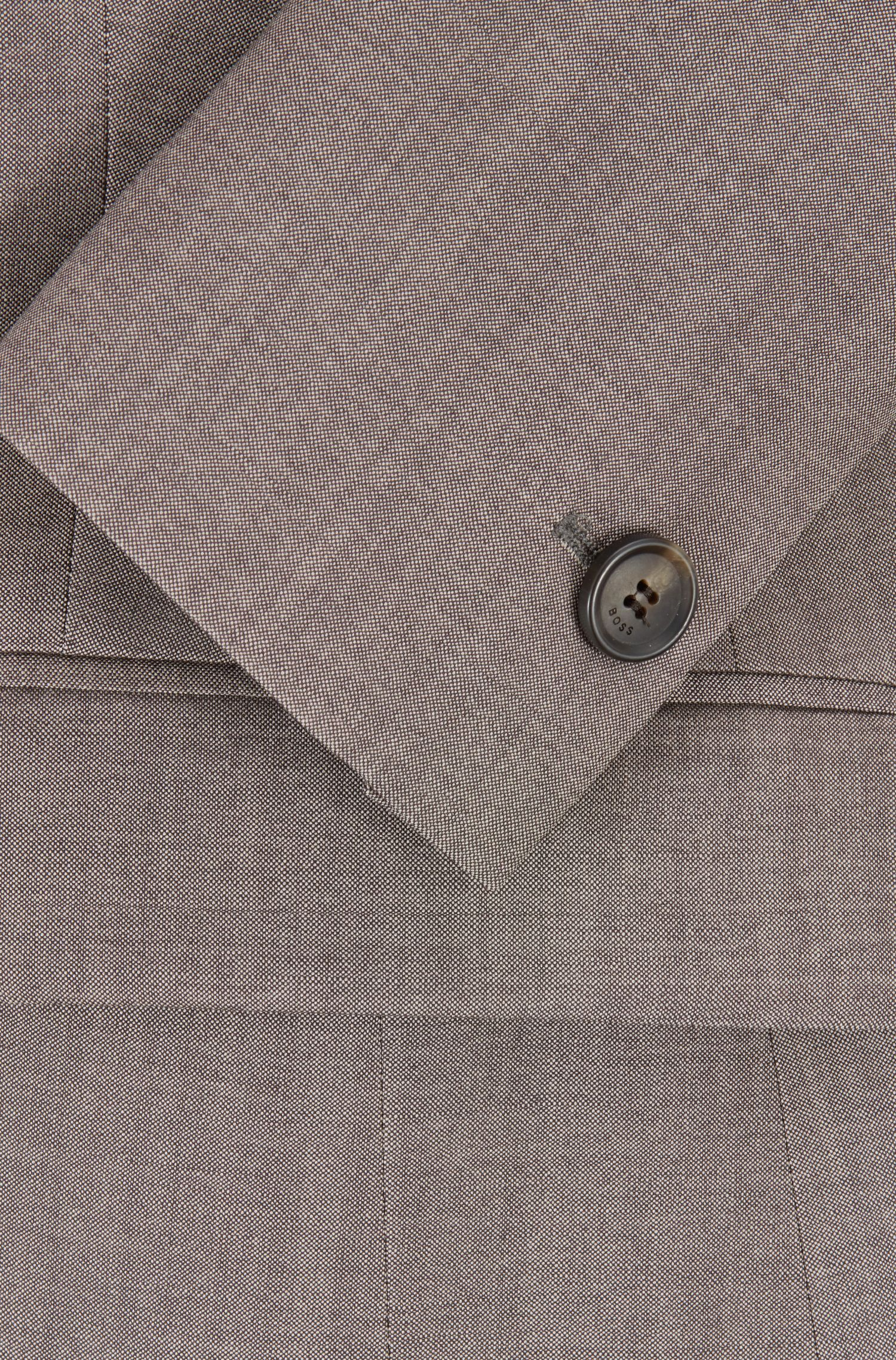 Regular-fit jacket in virgin wool with sharkskin texture, Dark Grey