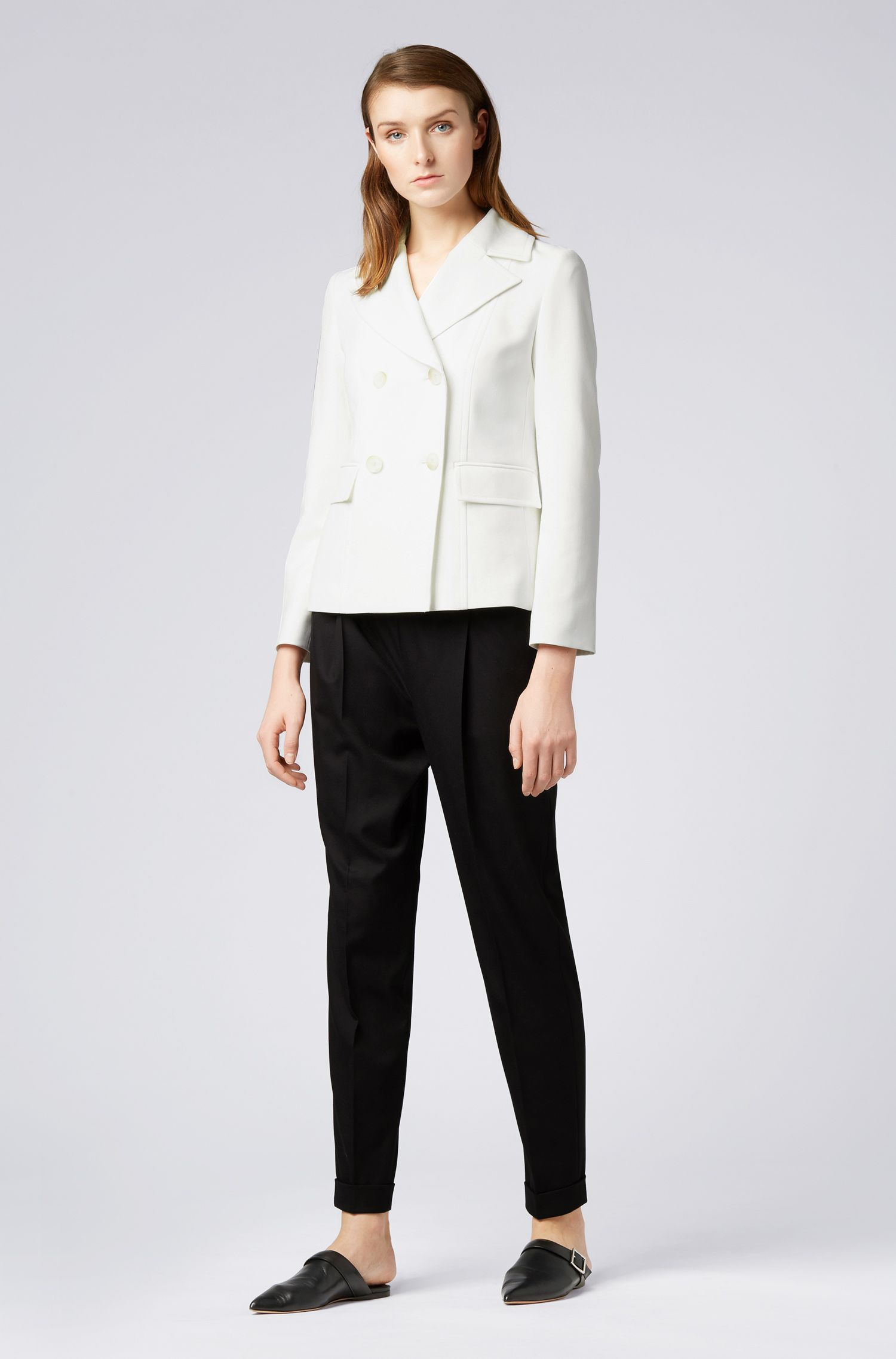 Double-breasted jacket in stretch fabric with oversize lapels, Natural