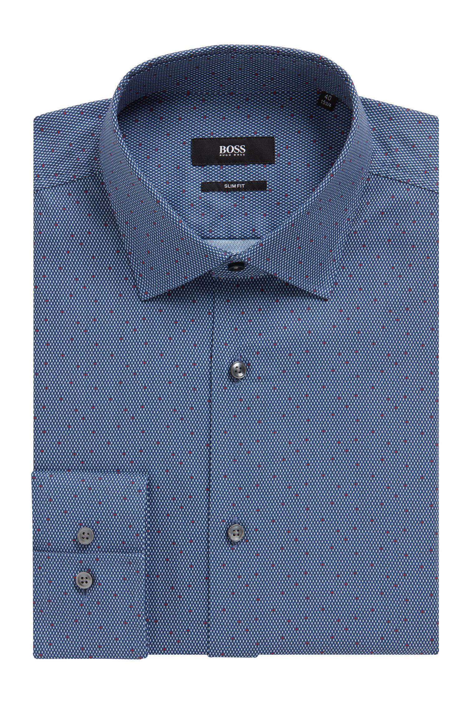Printed slim-fit shirt in micro-pattern Italian cotton, Dark Blue