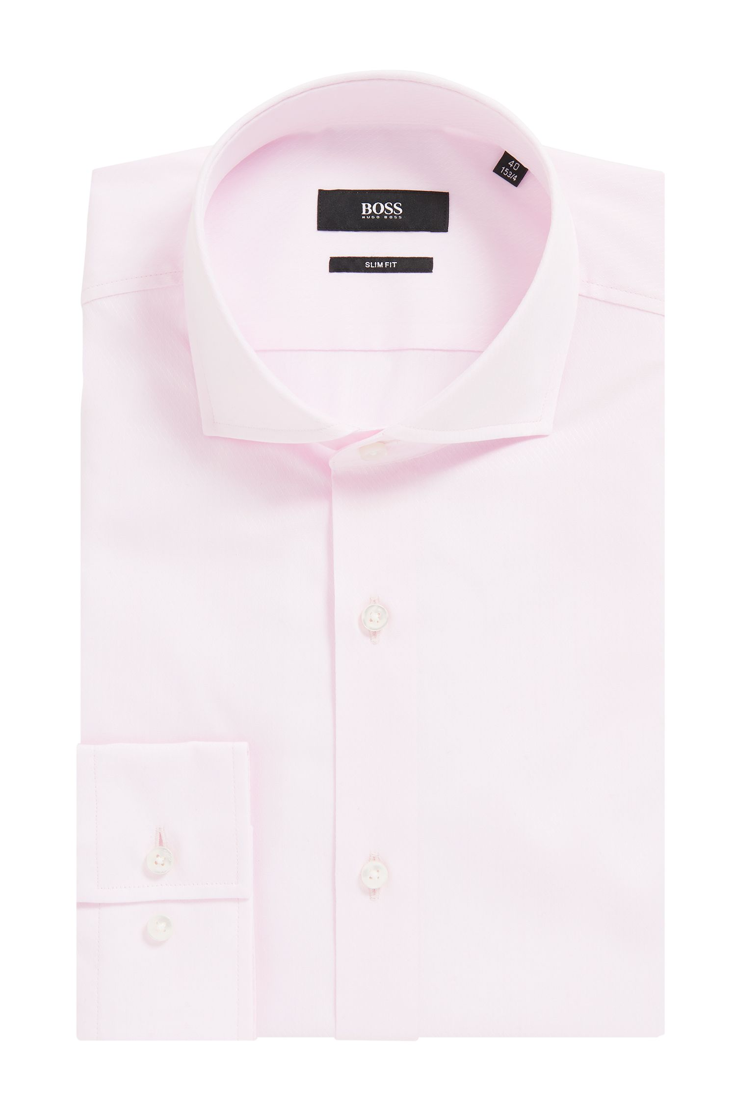 Slim-fit shirt in cotton with diagonal stripes, light pink