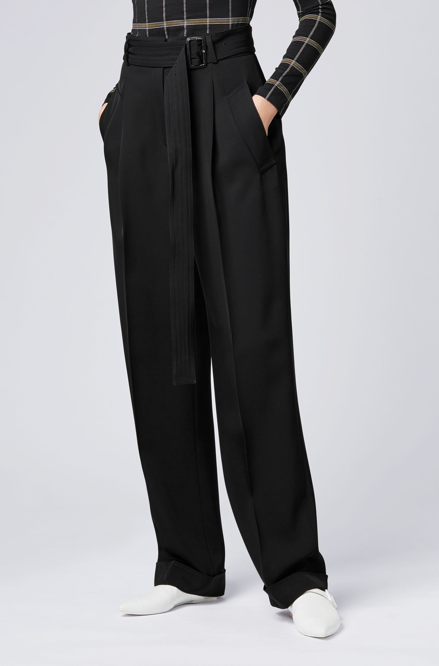 High-waisted wide-leg pants with belted waist, Black