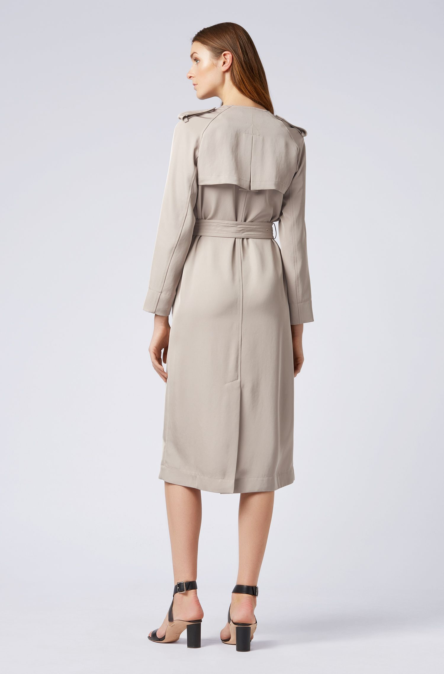 Trench-style dress in Japanese twill fabric, Beige