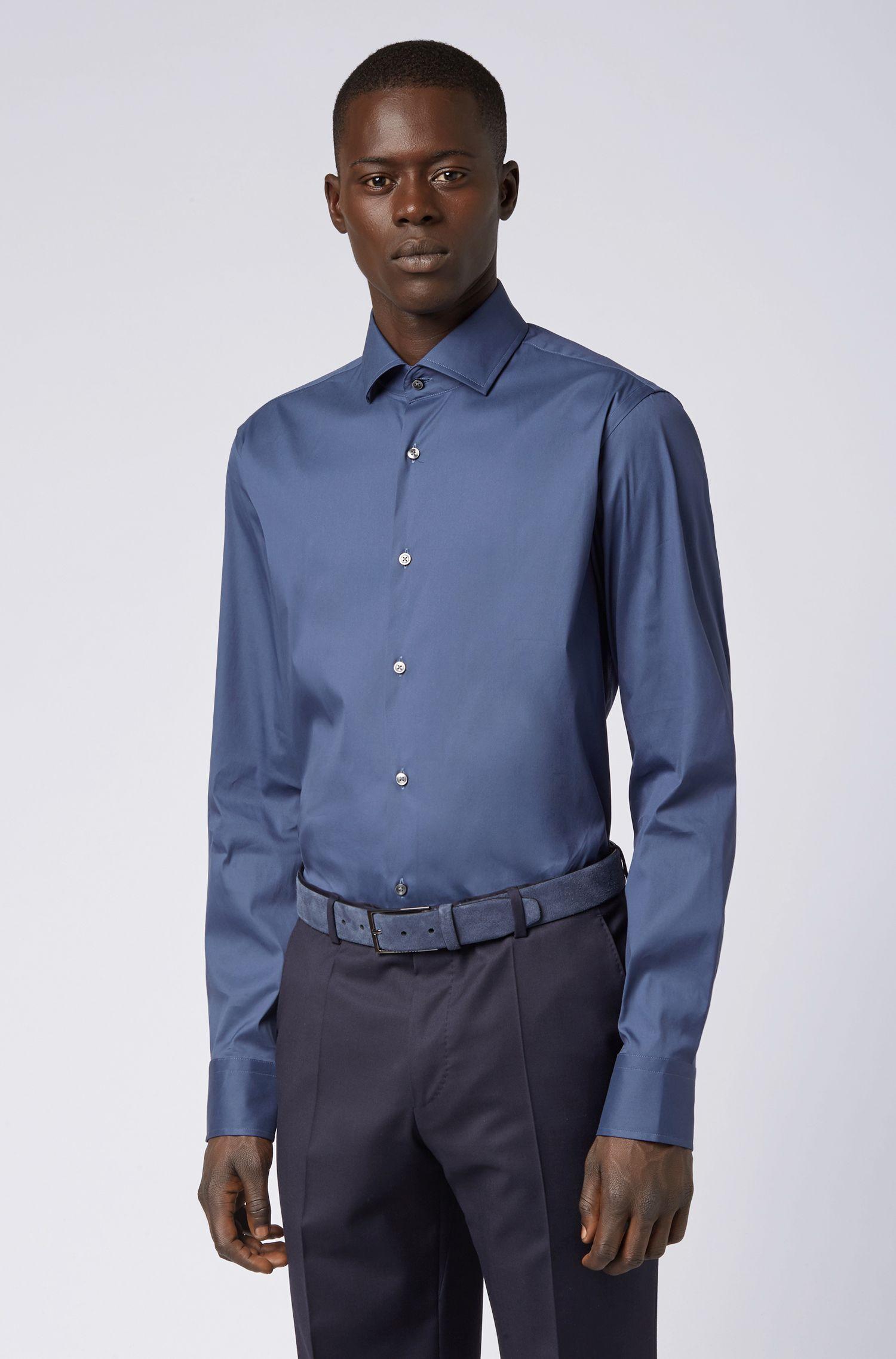 Regular-fit shirt in a stretch cotton blend, Open Blue