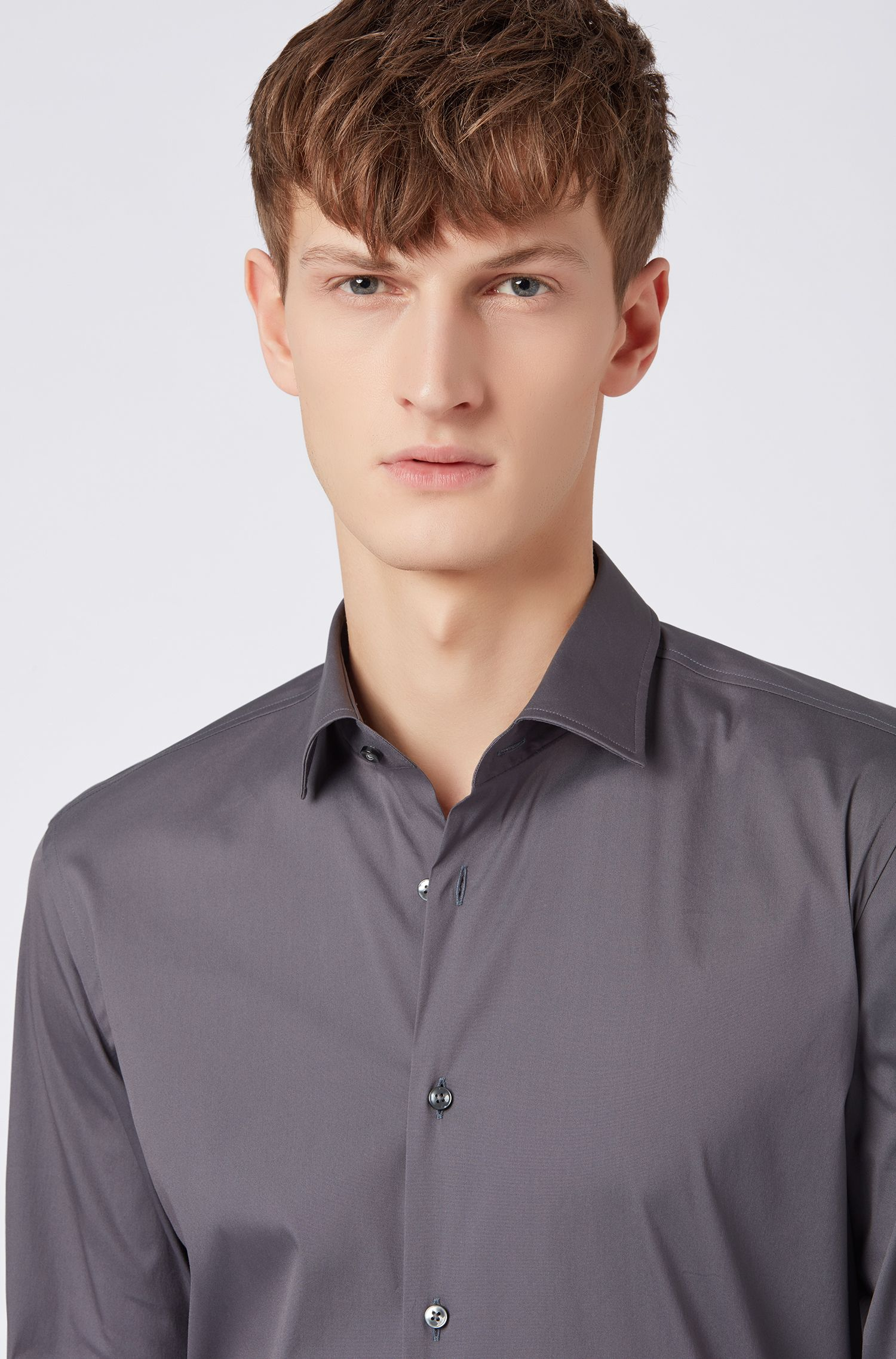 Slim-fit shirt in stretch poplin, Dark Grey