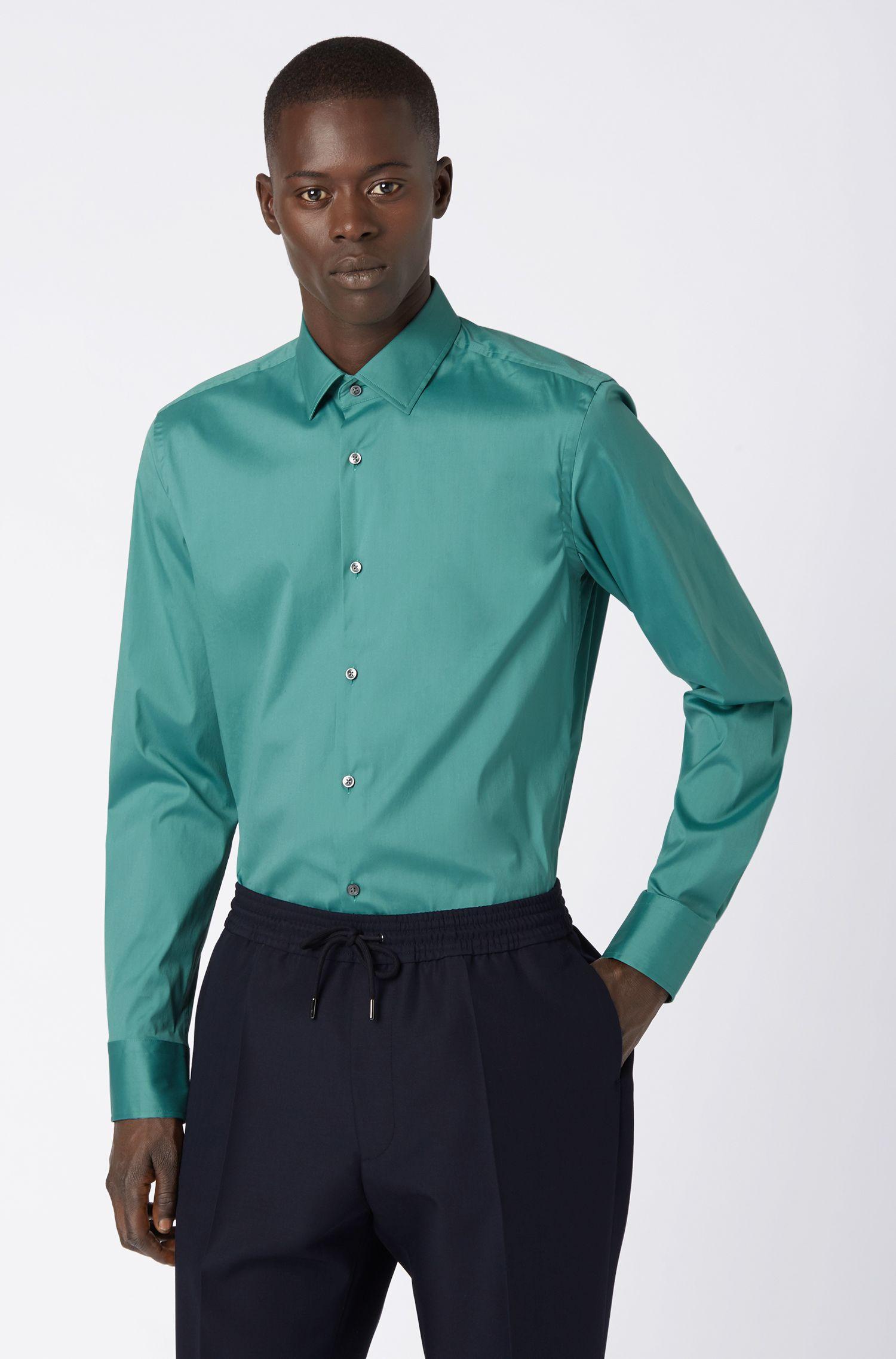 Slim-fit shirt in stretch poplin, Open Green