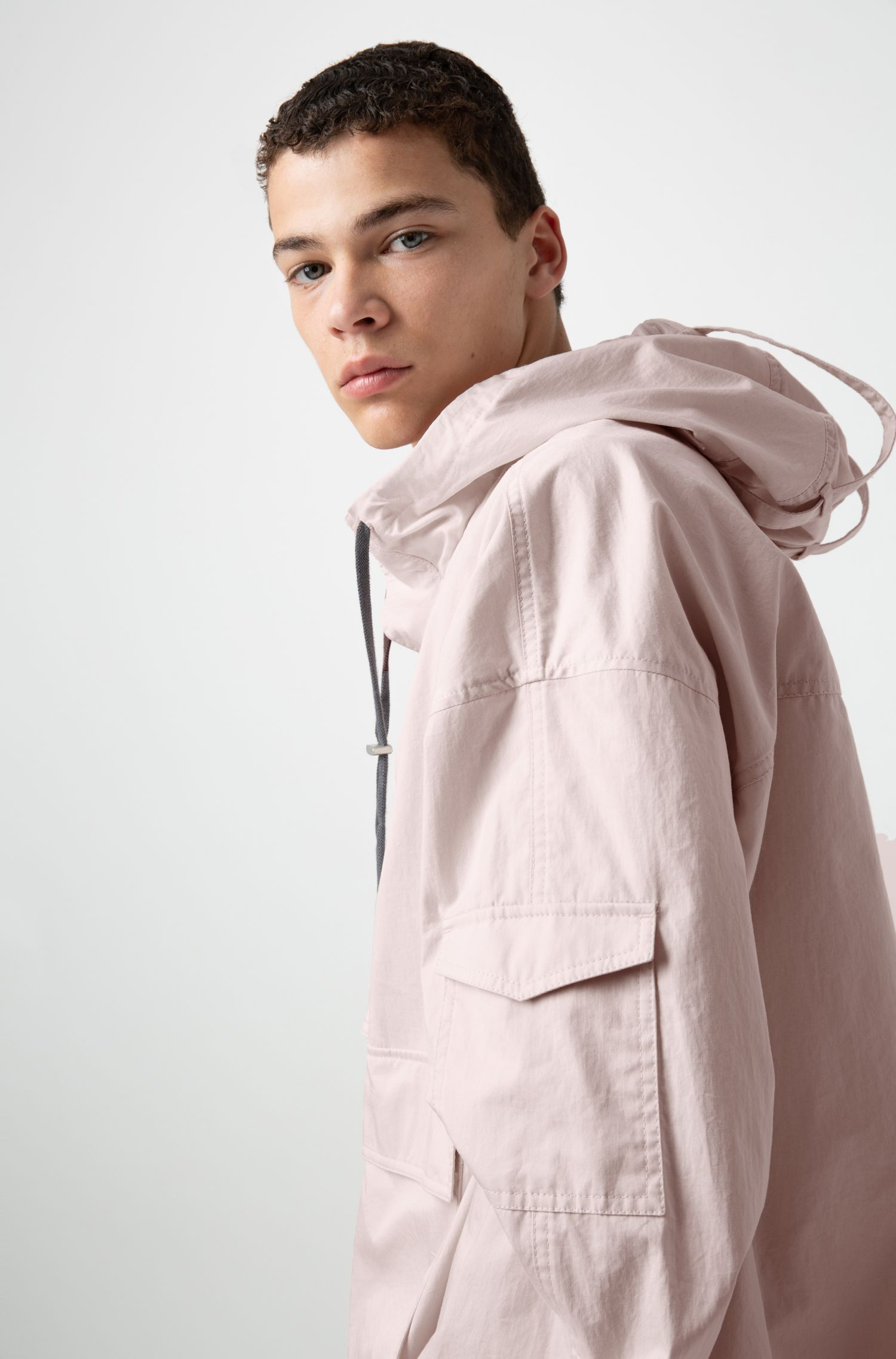Relaxed-fit hooded cotton windbreaker, light pink