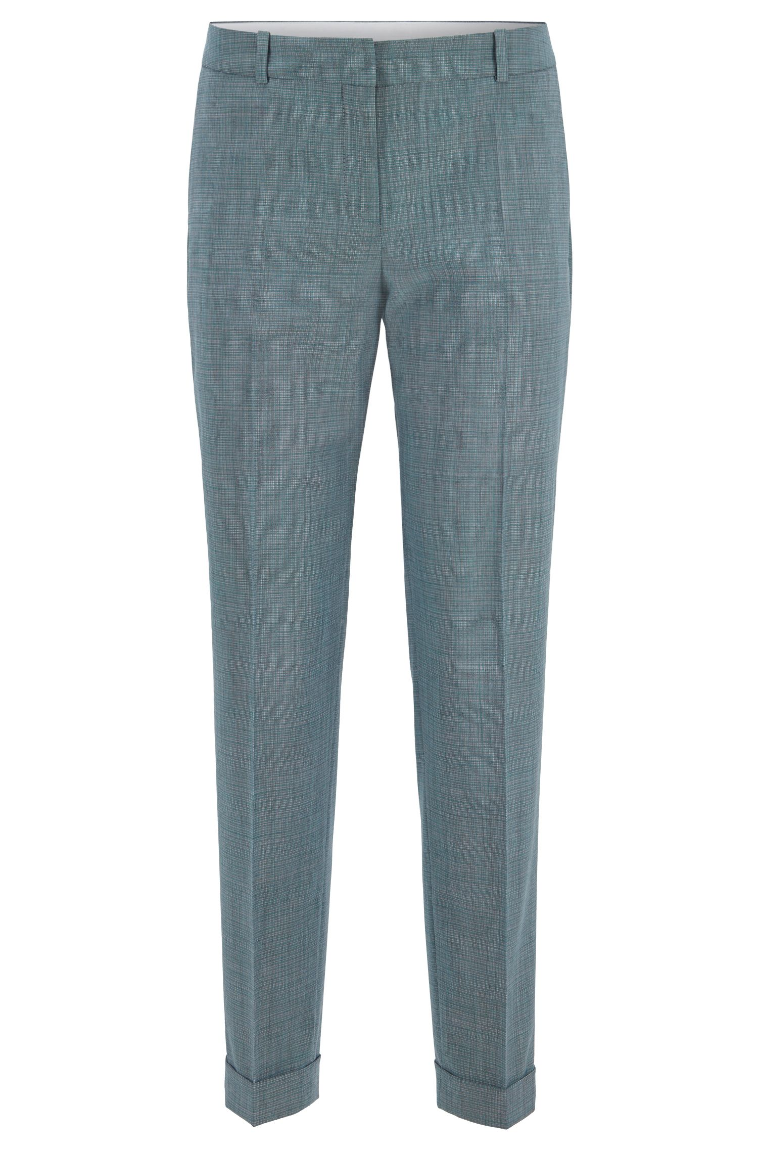 Relaxed-fit cropped pants in patterned Italian virgin wool with stretch, Patterned