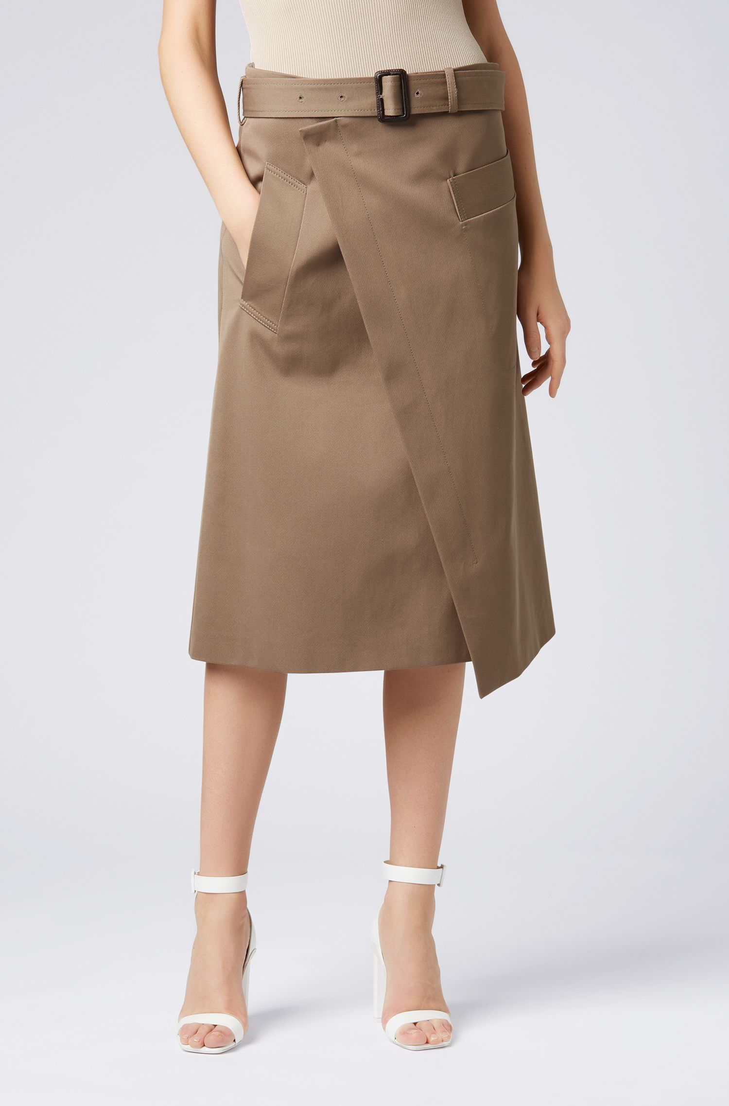 Relaxed-fit wrap skirt in twill with buckled belt, Open Brown