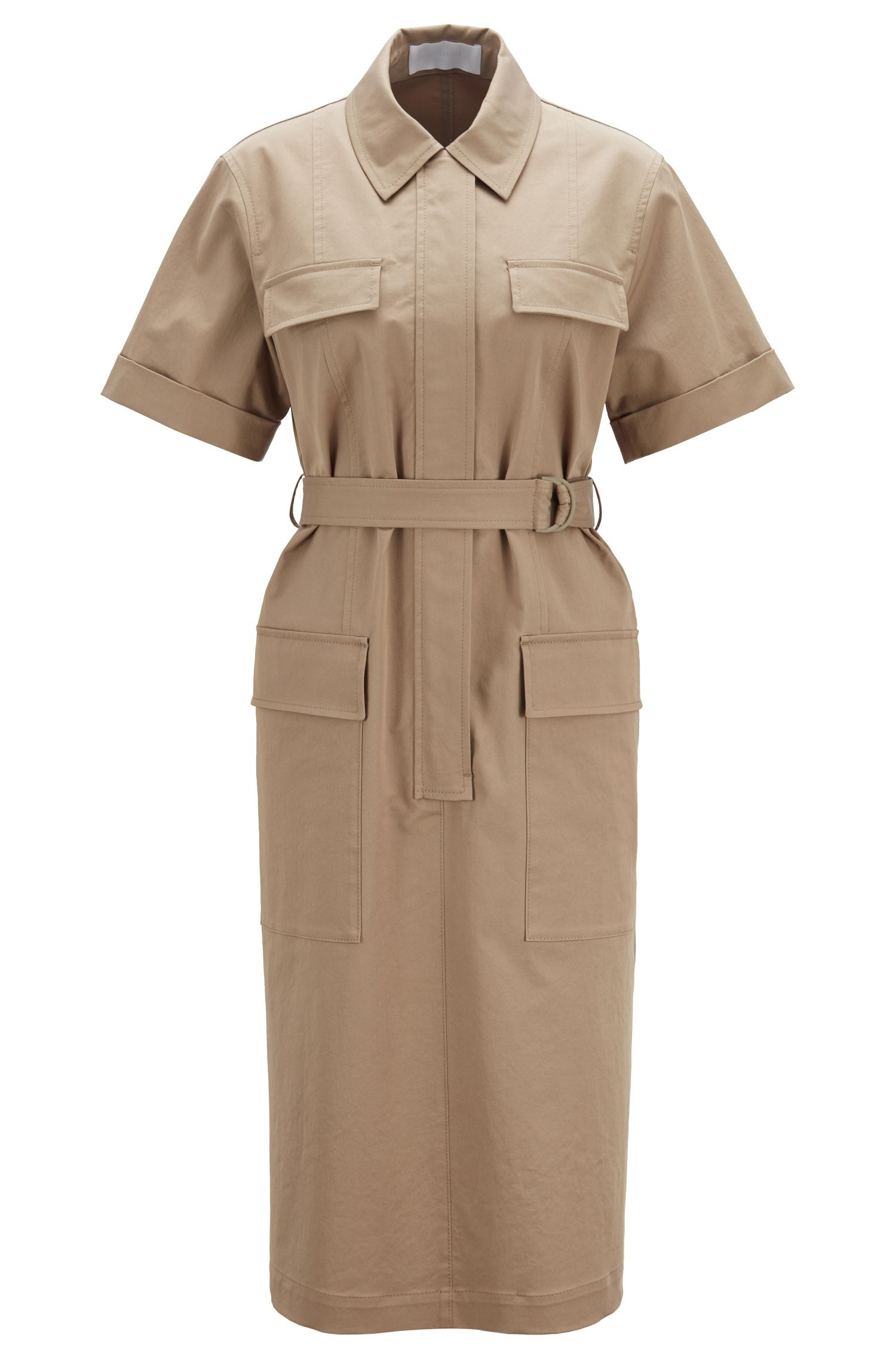 Relaxed-fit safari-style dress in stretch cotton, Open Brown
