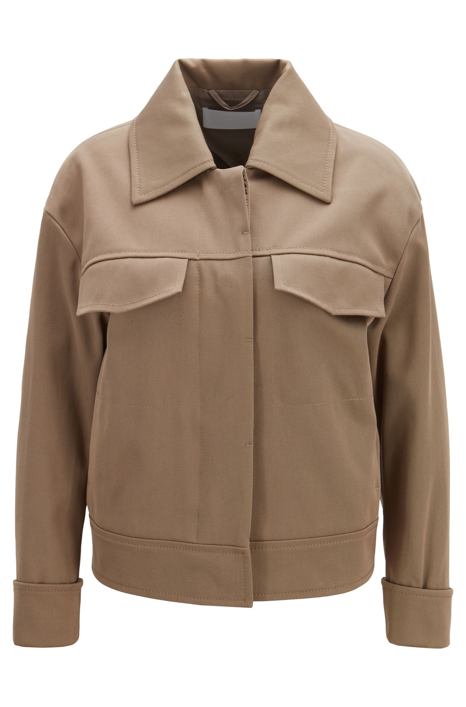 Oversized-fit jacket in Italian cotton twill, Open Brown