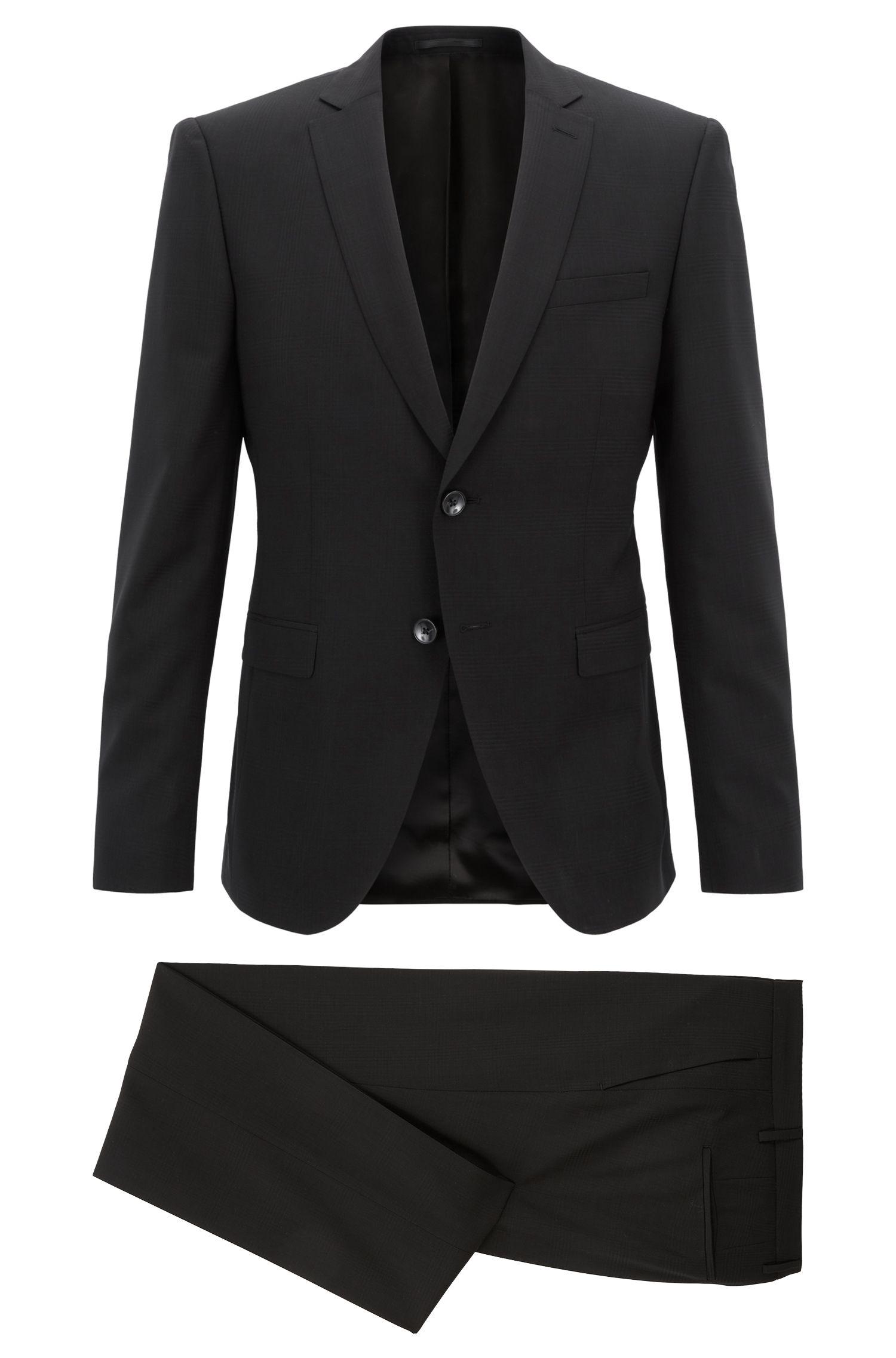 Extra-slim-fit suit in tonal-check virgin wool, Black
