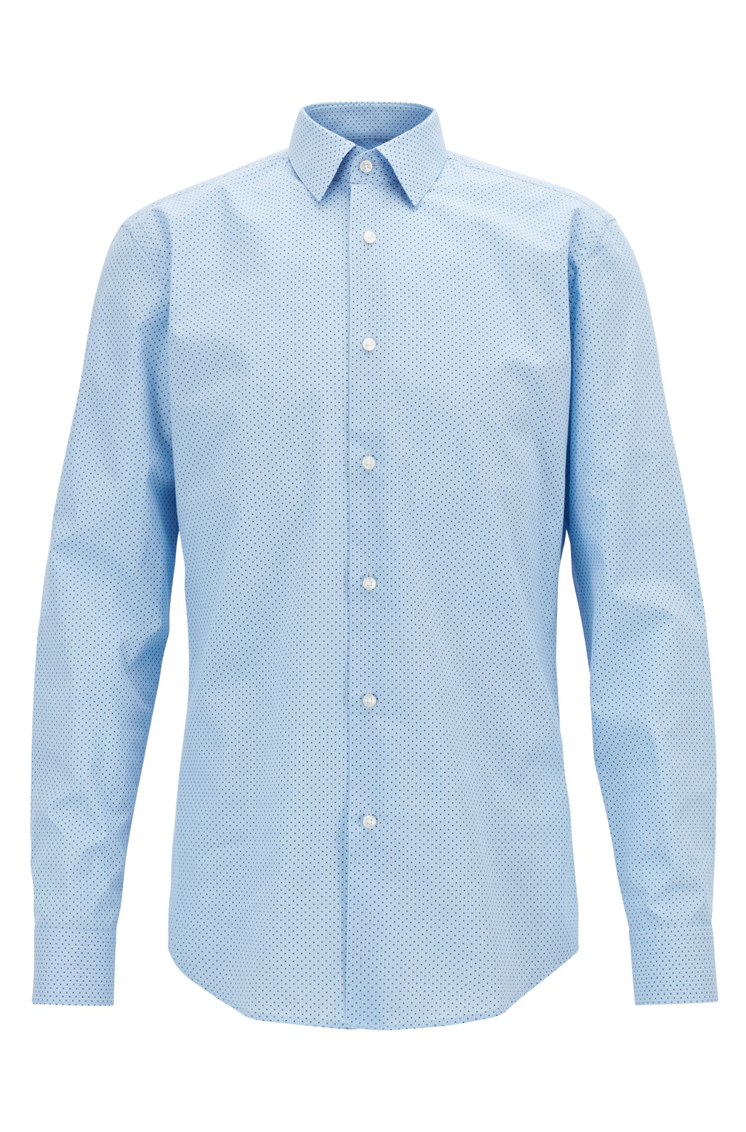 Slim-fit shirt in patterned Italian cotton, Light Blue