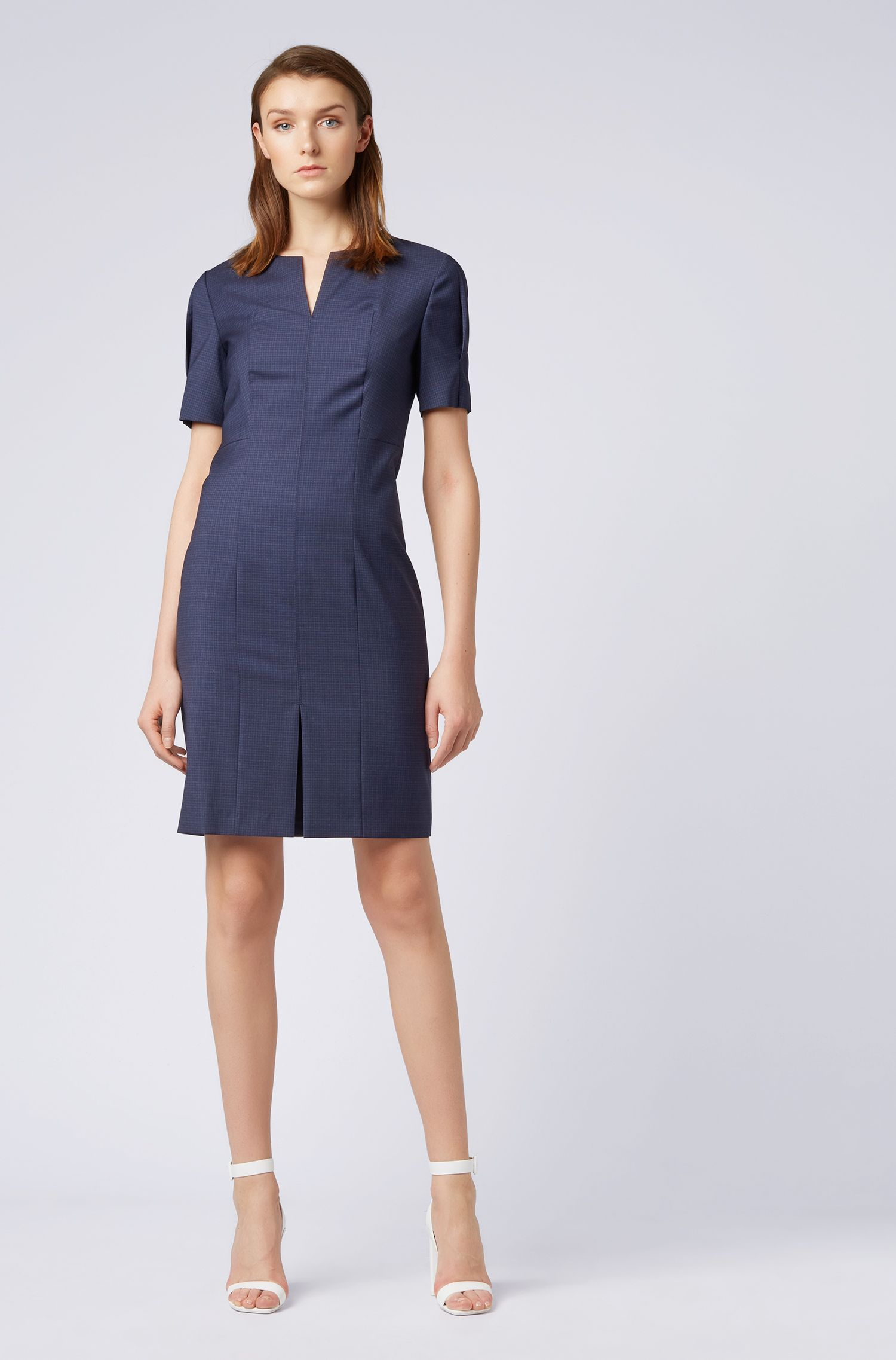 Checkered dress in Italian virgin wool with voluminous sleeves, Patterned
