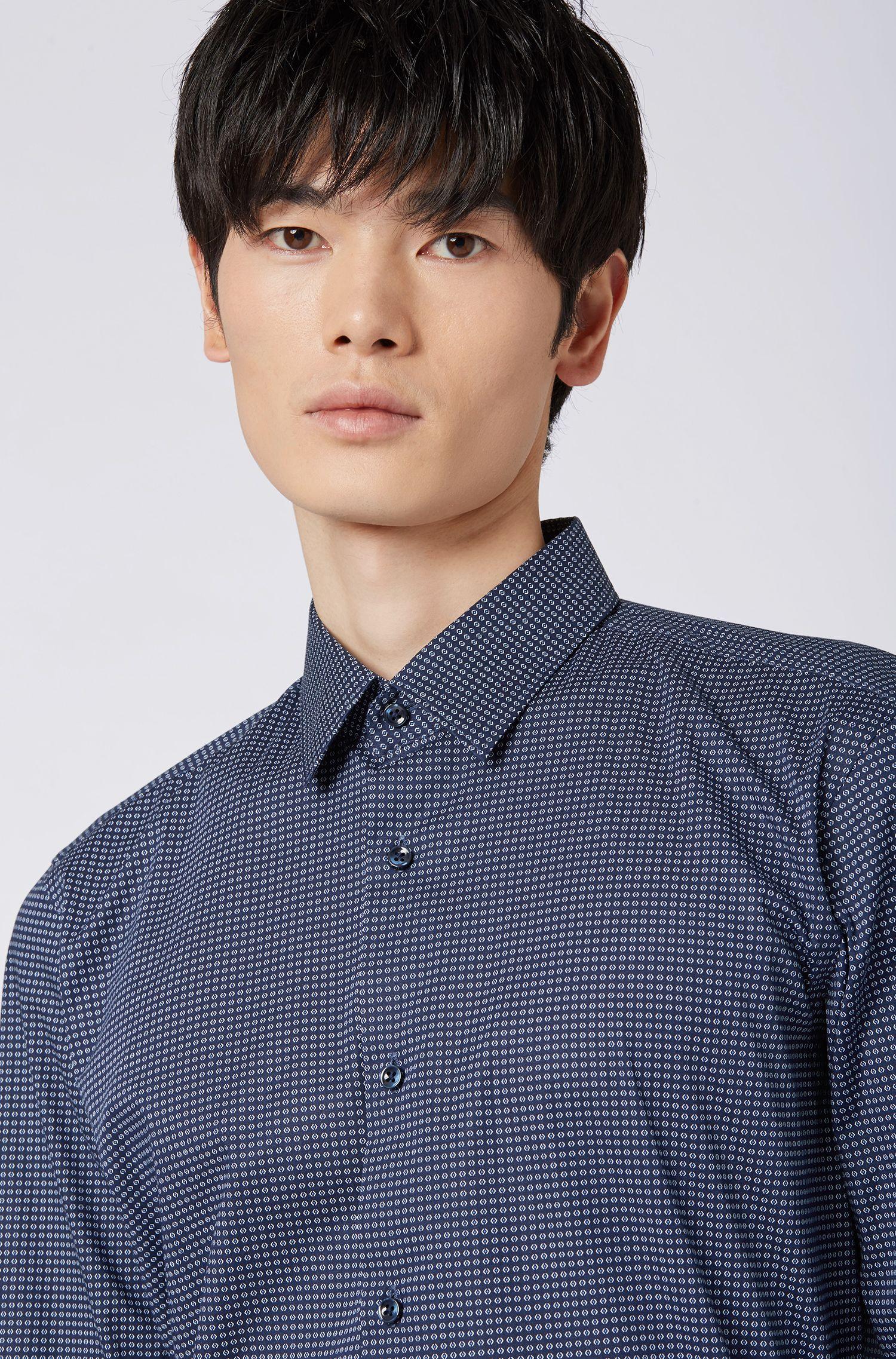 Regular-fit shirt in geometric-print Italian stretch poplin, Dark Blue